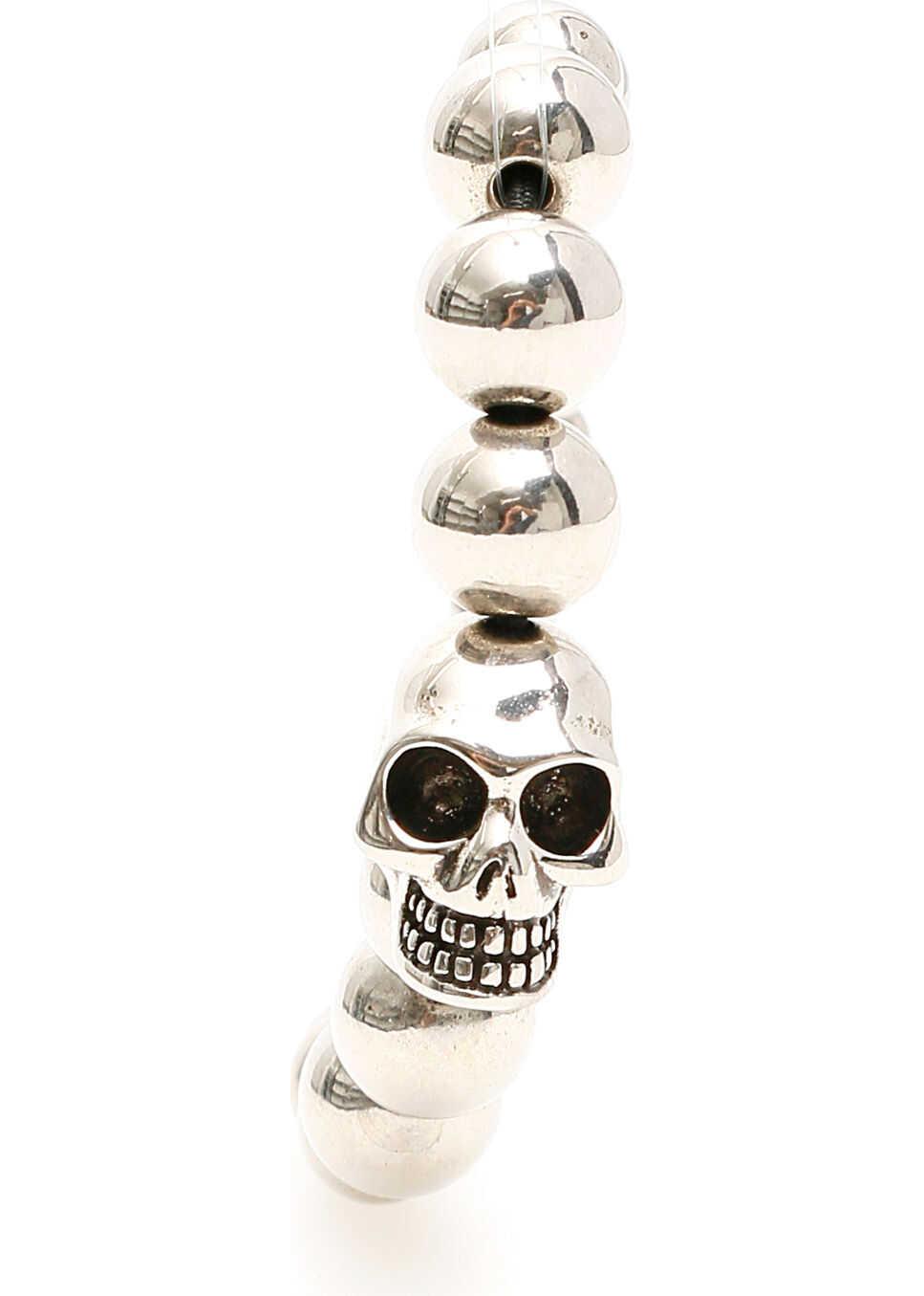 Alexander McQueen Skull Pearl Bracelet SIL V B ANTIL