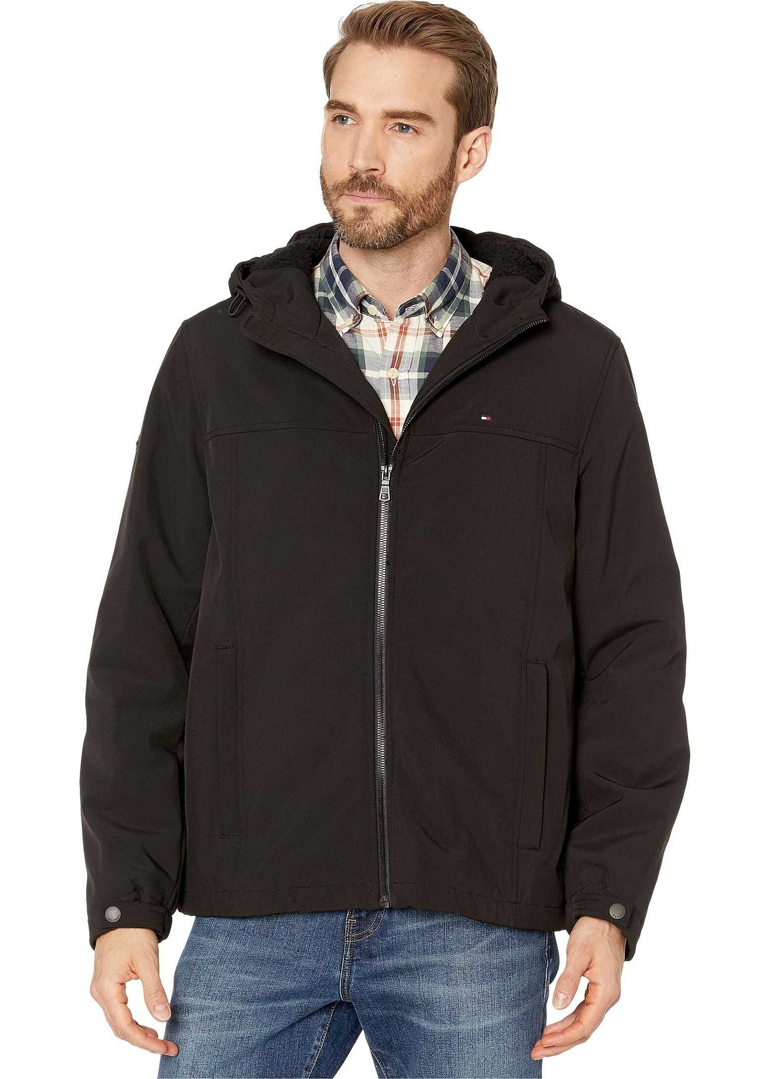 Tommy Hilfiger Soft Shell Hoodie with Sherpa Lining Black