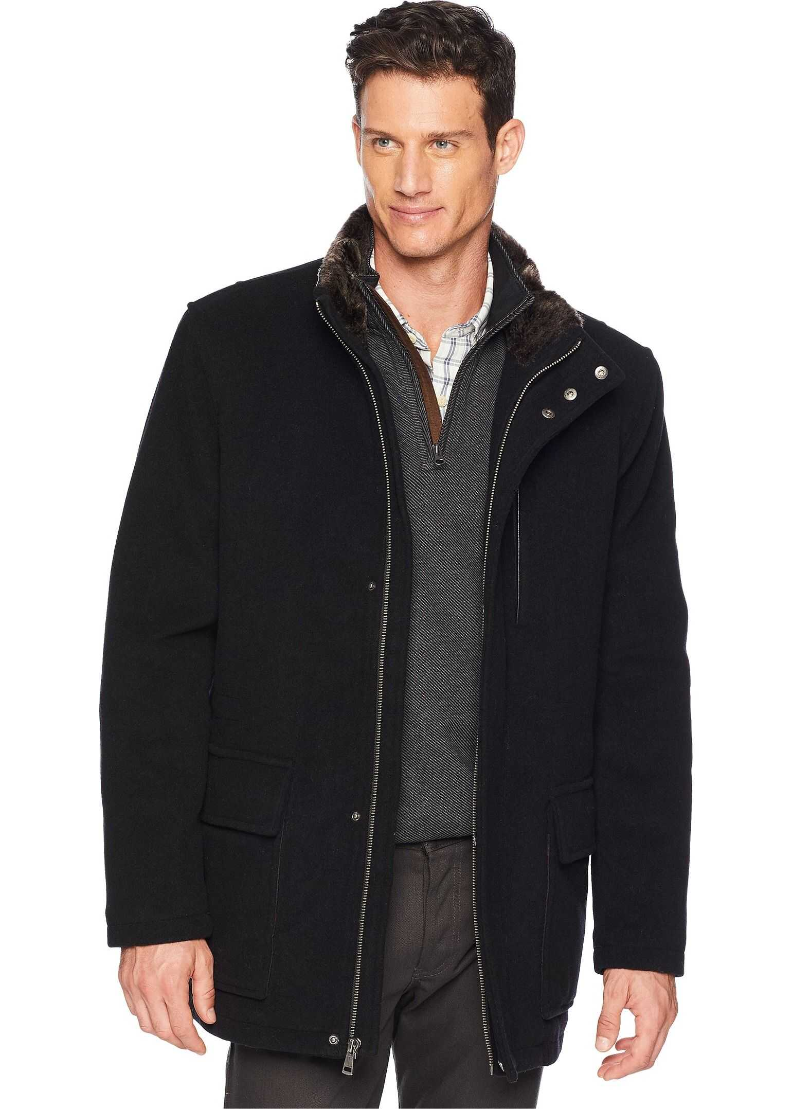 Cole Haan Wool Plush Coat with Faux Fur Inner Collar Black