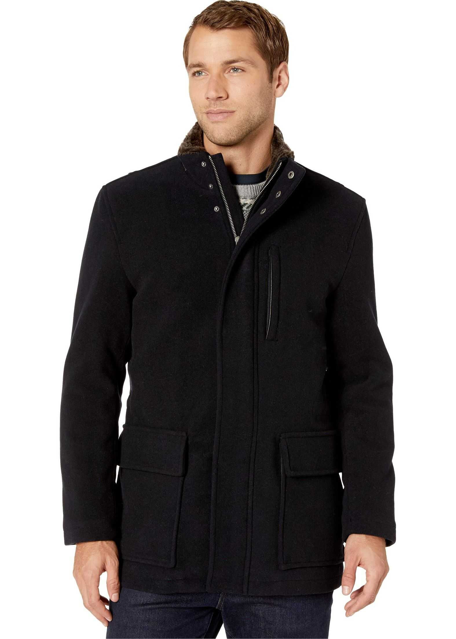 Cole Haan Wool Plush Coat with Faux Fur Inner Collar Navy