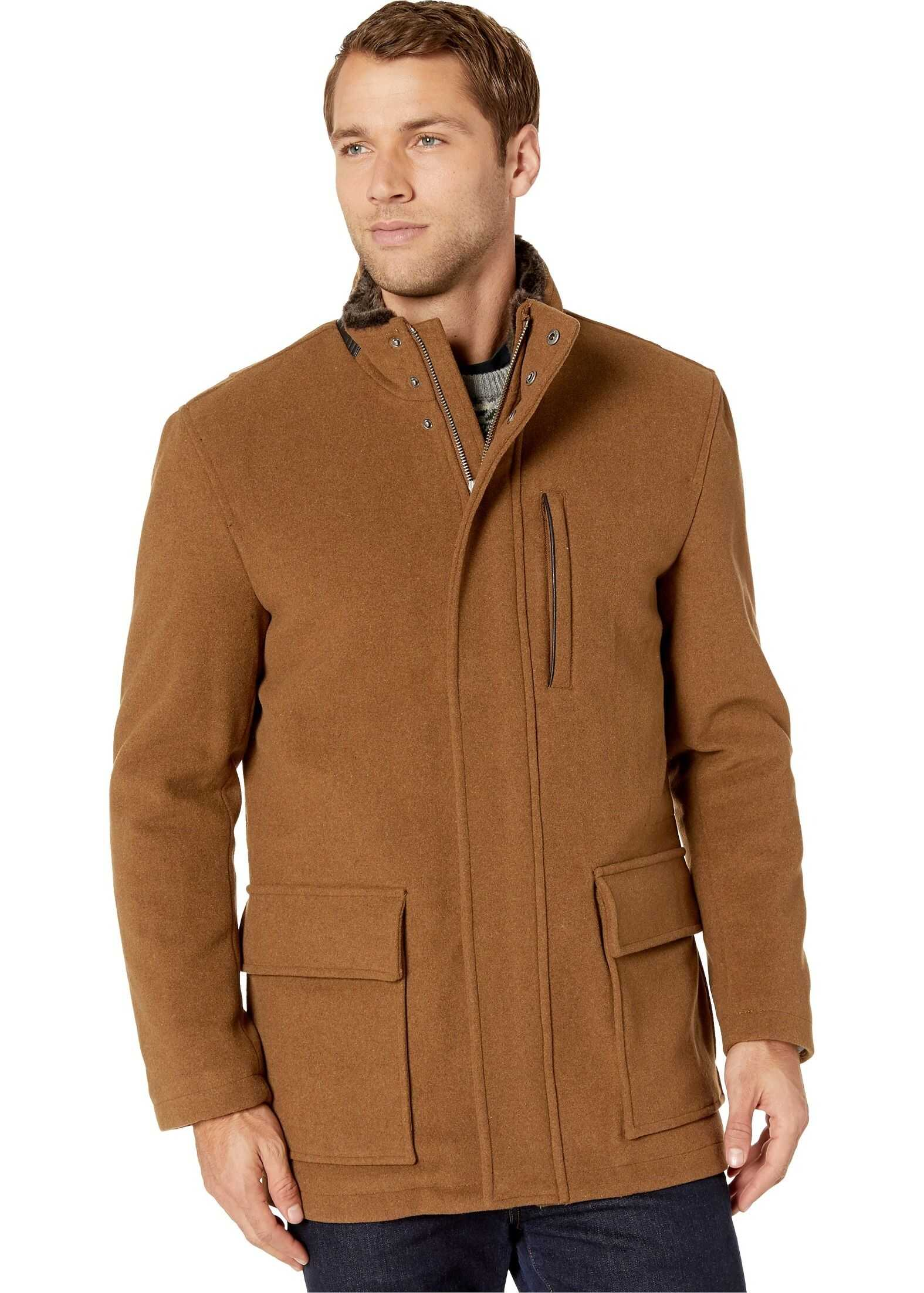 Cole Haan Wool Plush Coat with Faux Fur Inner Collar Camel