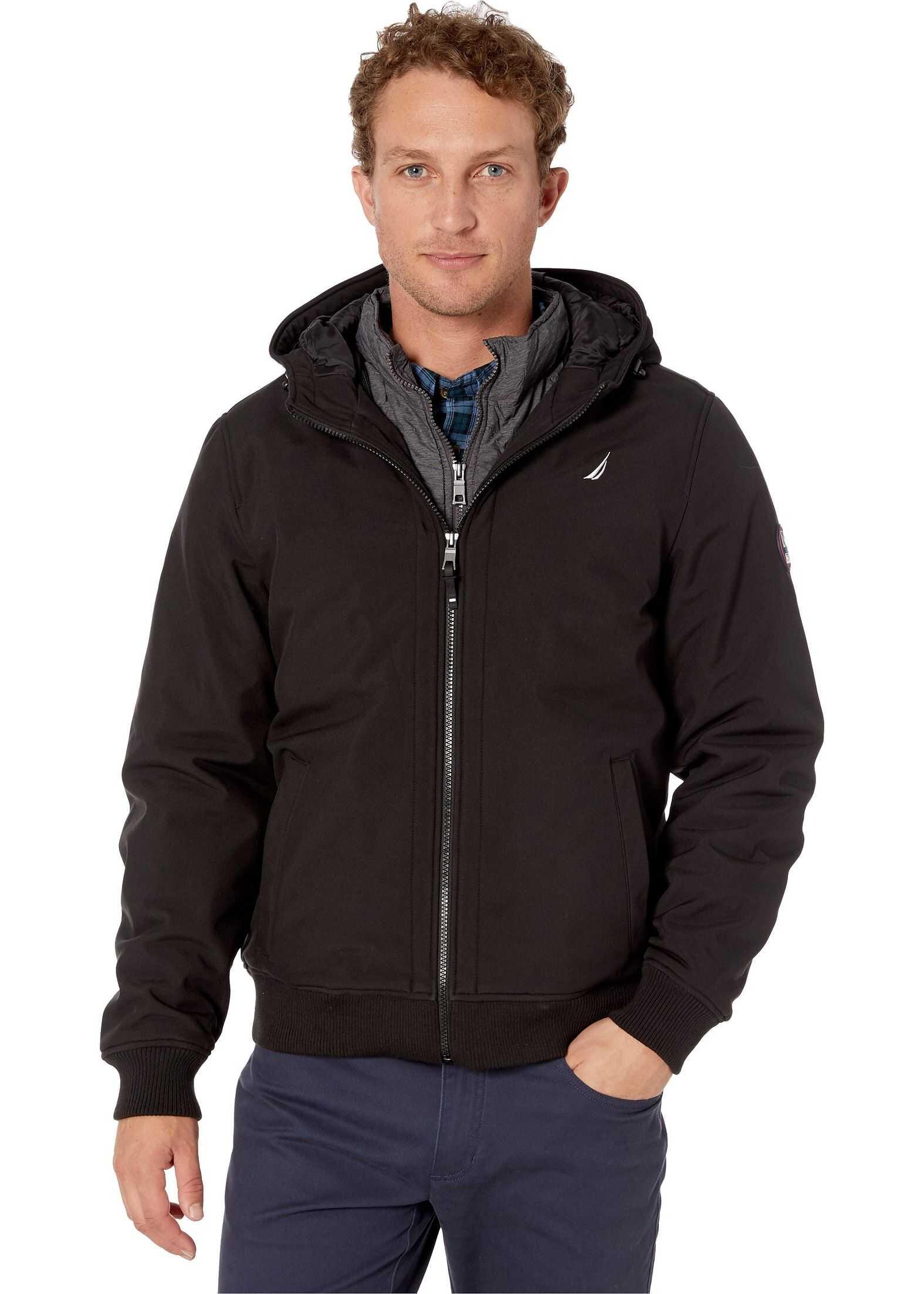 Hooded Softshell Bonded Fleece w/ Inner Bib & Rib Knit Cuffs