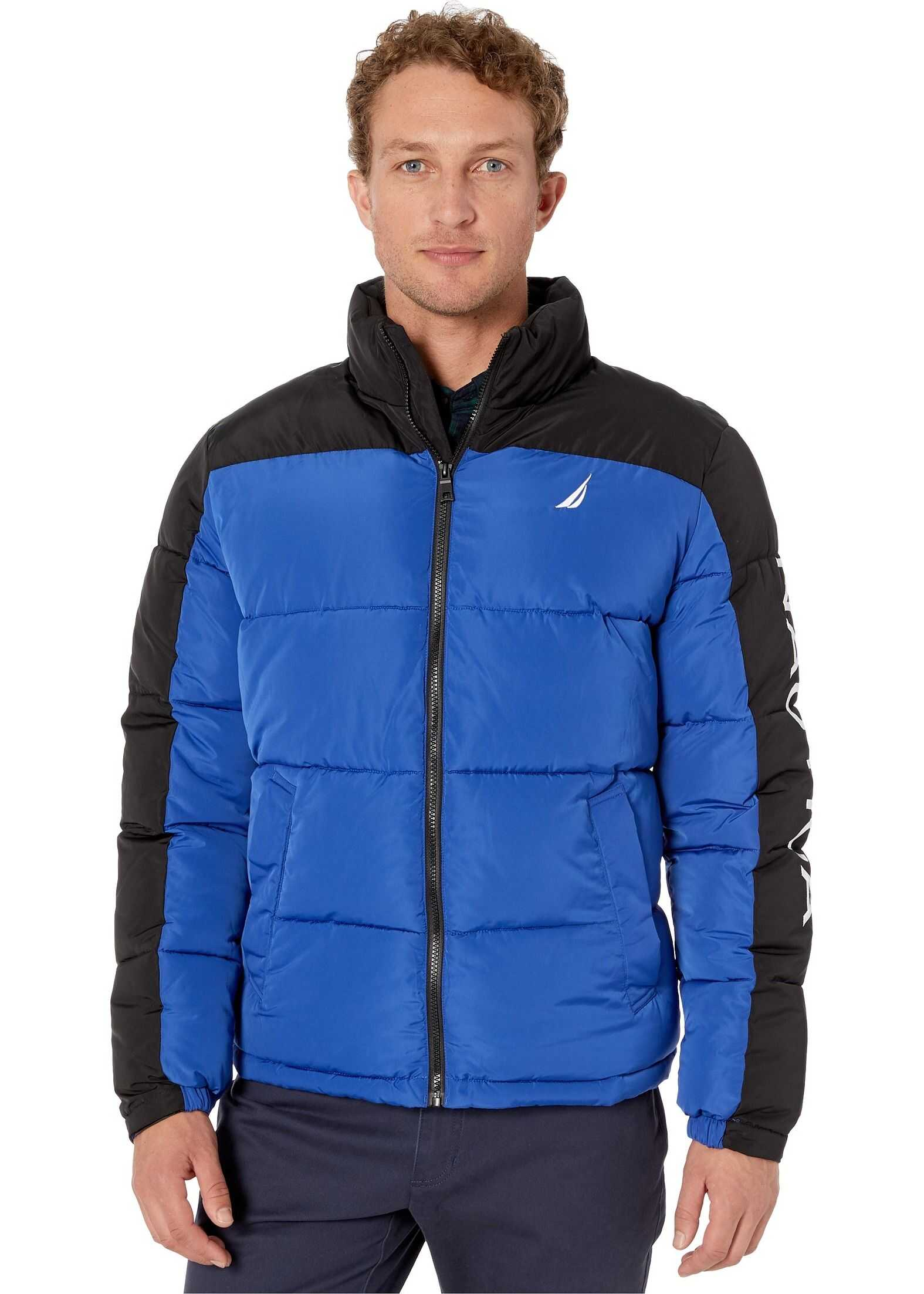 Nautica Color Block Logo Puffer Black/Royal