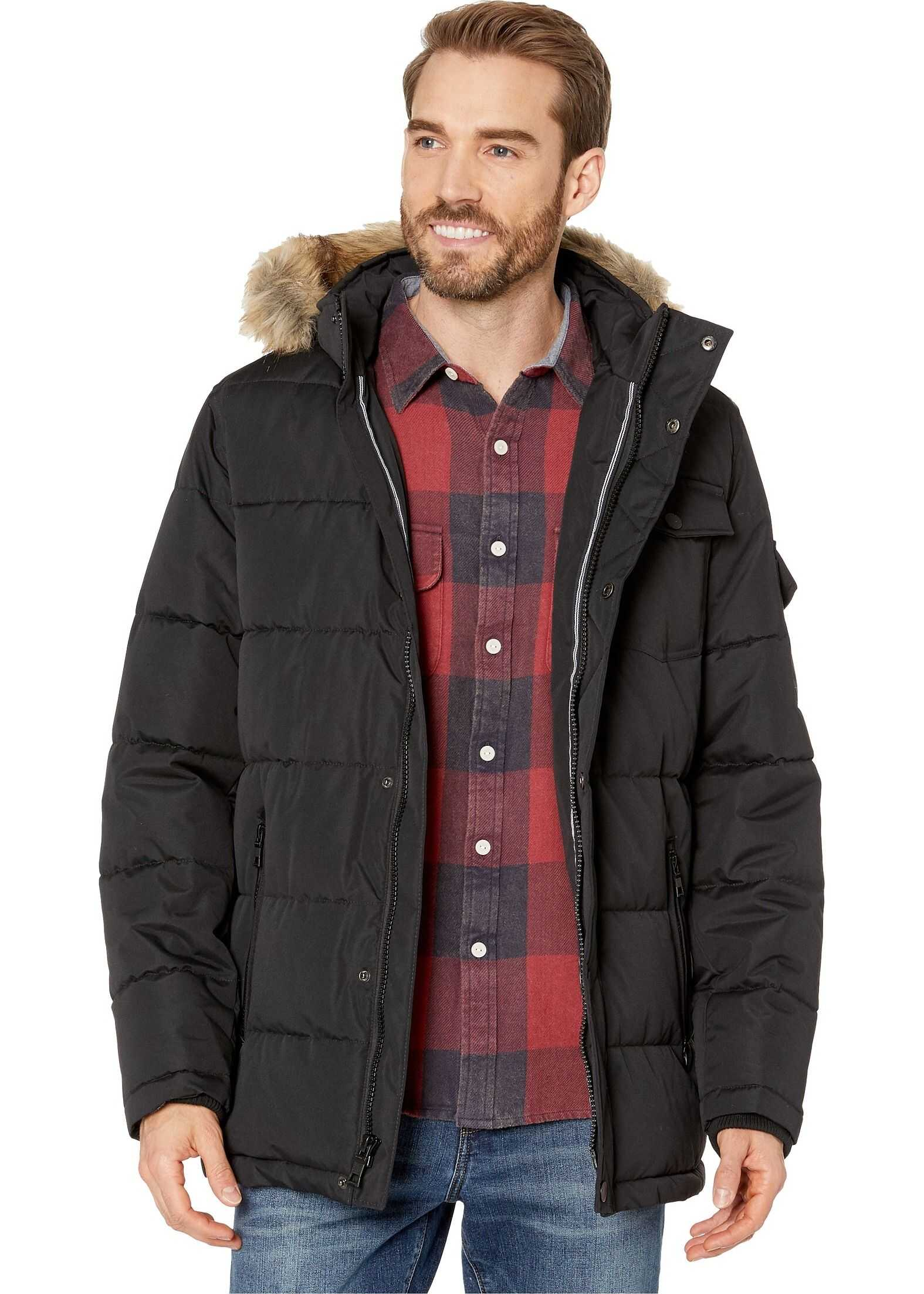 Nautica Polyester Fill Puffer w/ Removable Faux Fur Hood Black