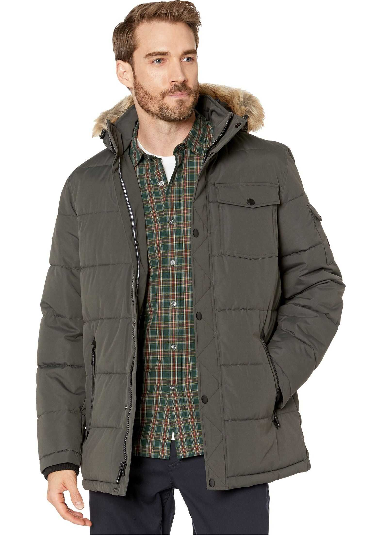 Nautica Polyester Fill Puffer w/ Removable Faux Fur Hood Charcoal