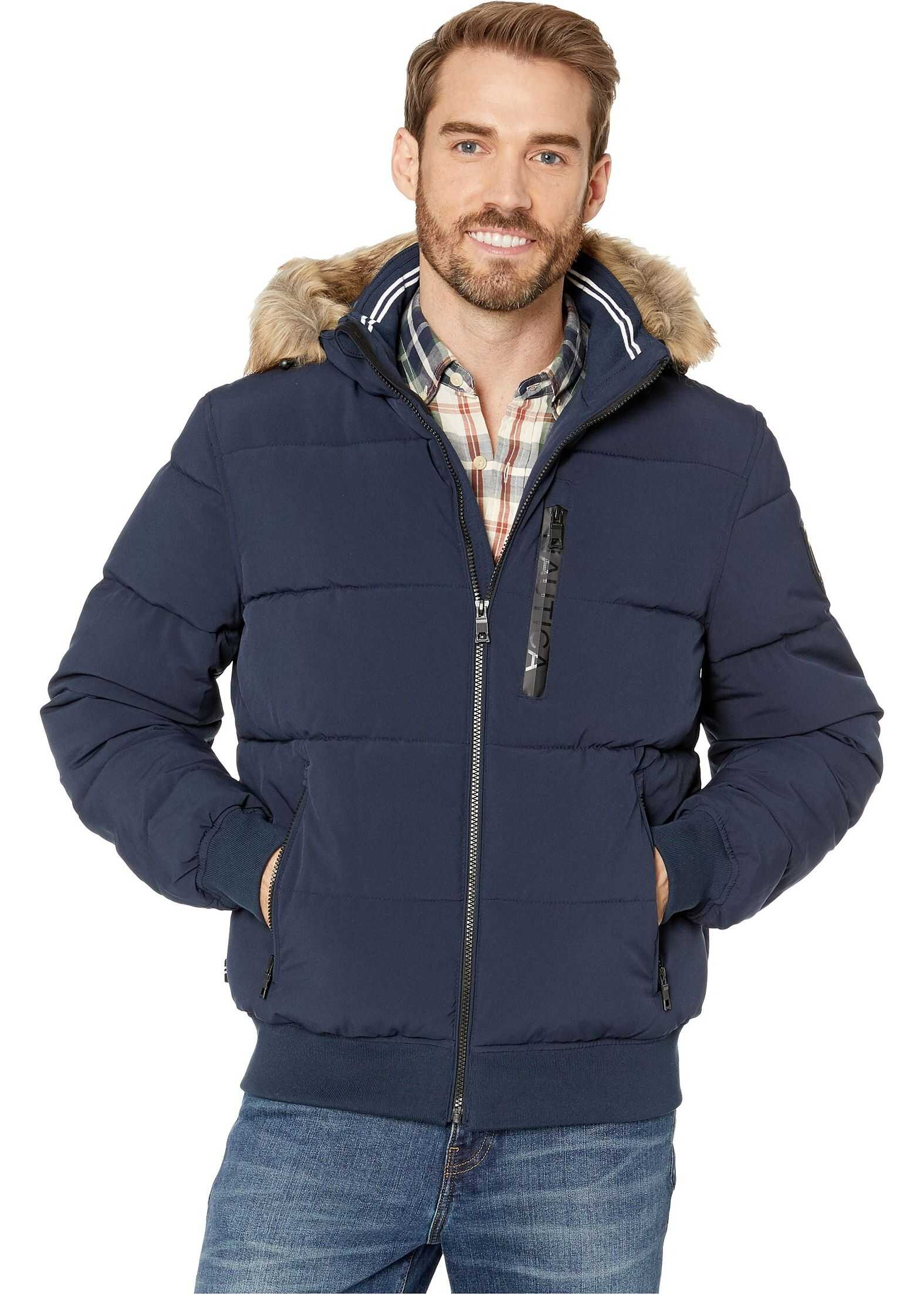 Nautica Hooded Bomber Puffer w/ Removable Faux Fur Hood & Logo Pockets Navy