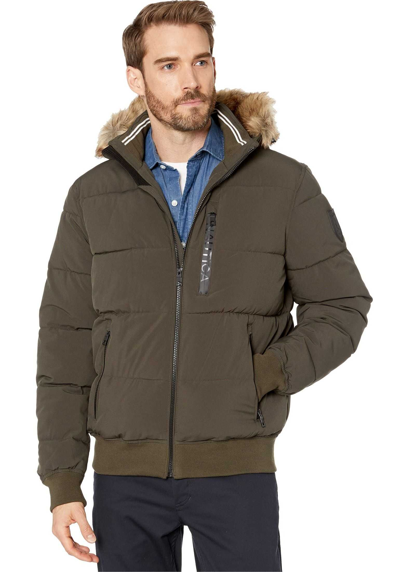 Nautica Hooded Bomber Puffer w/ Removable Faux Fur Hood & Logo Pockets Dark Olive