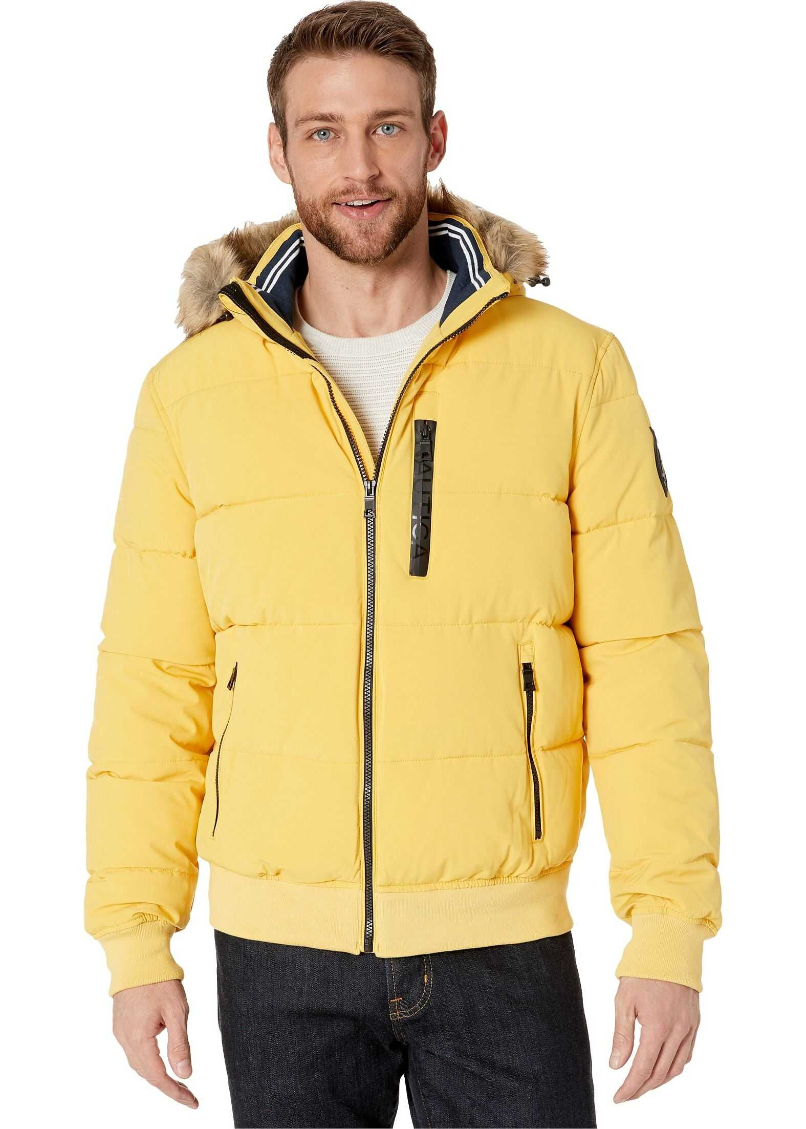 Nautica Hooded Bomber Puffer w/ Removable Faux Fur Hood & Logo Pockets Mustard