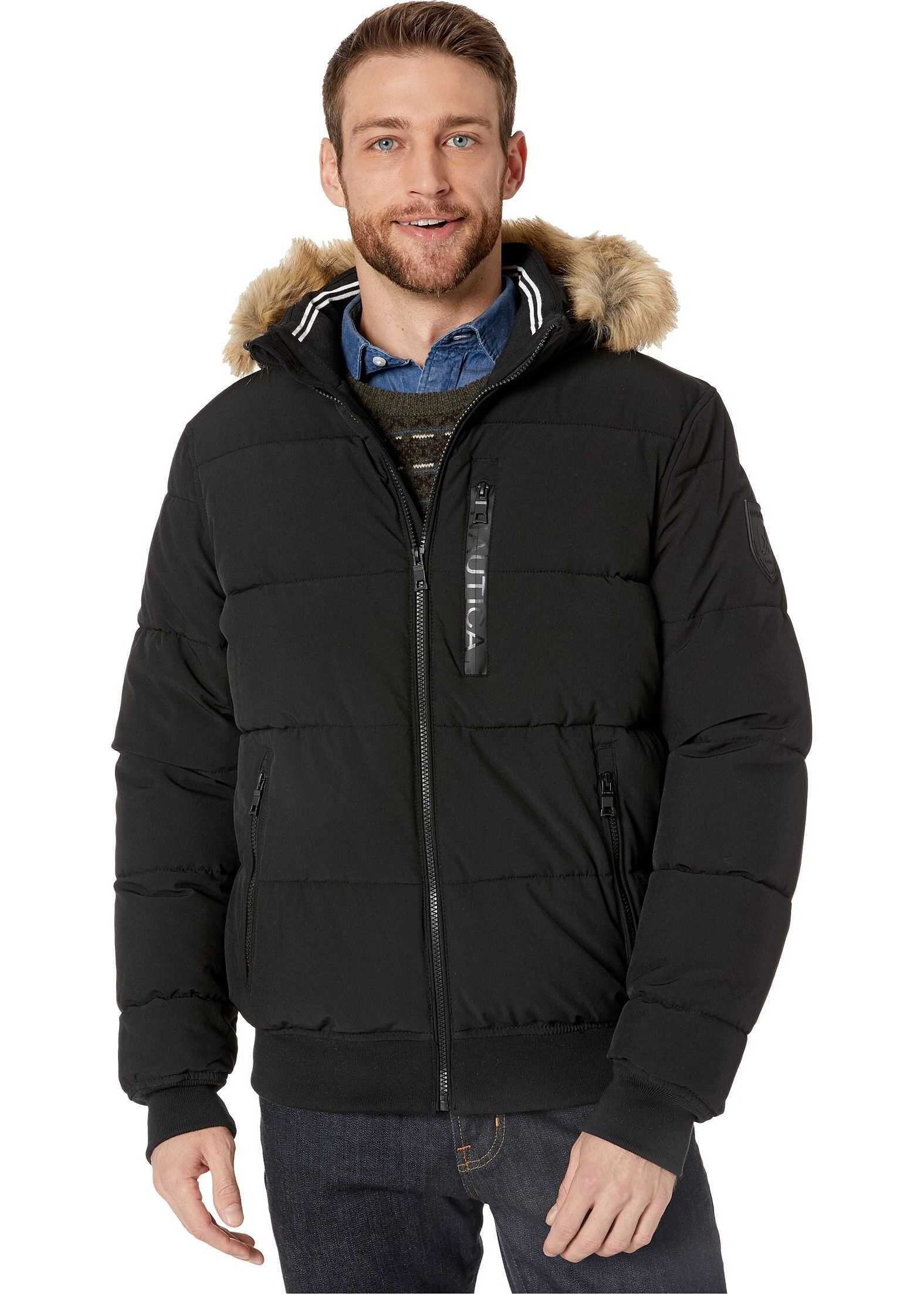 Nautica Hooded Bomber Puffer w/ Removable Faux Fur Hood & Logo Pockets Black