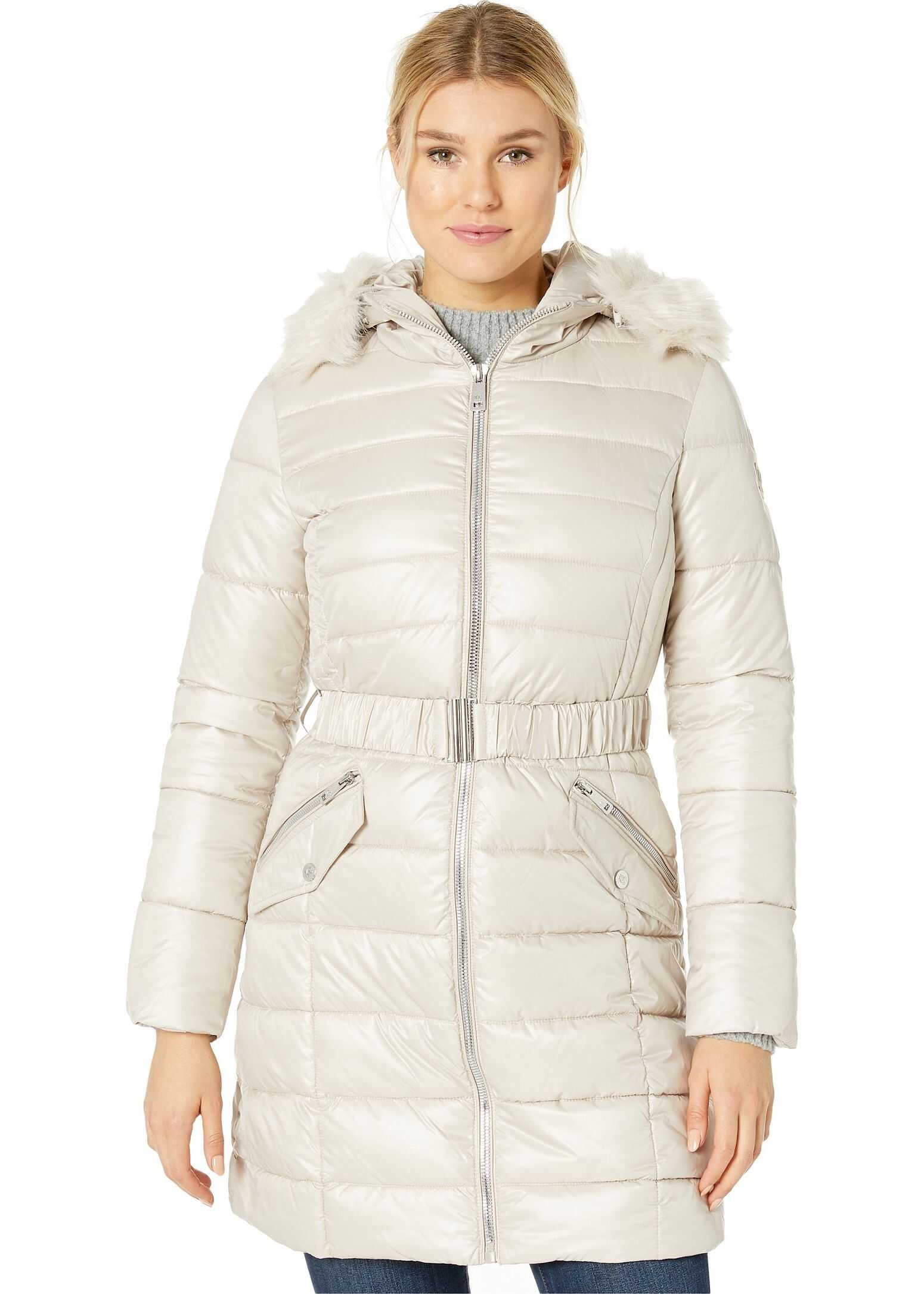 Kenneth Cole New York Belted Lightweight Puffer w/ Welt Pockets & Faux Fur Trimmed Hood Bone