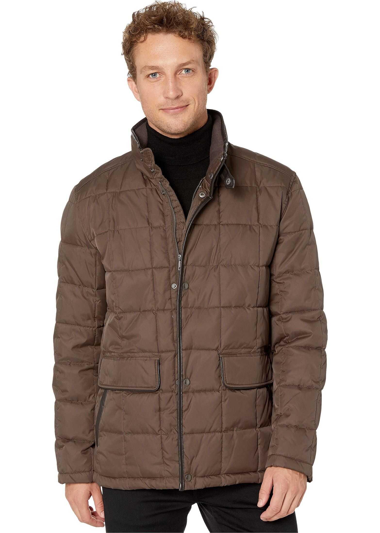 Cole Haan Box Quilt Jacket w/ Faux Leather Trim Wren