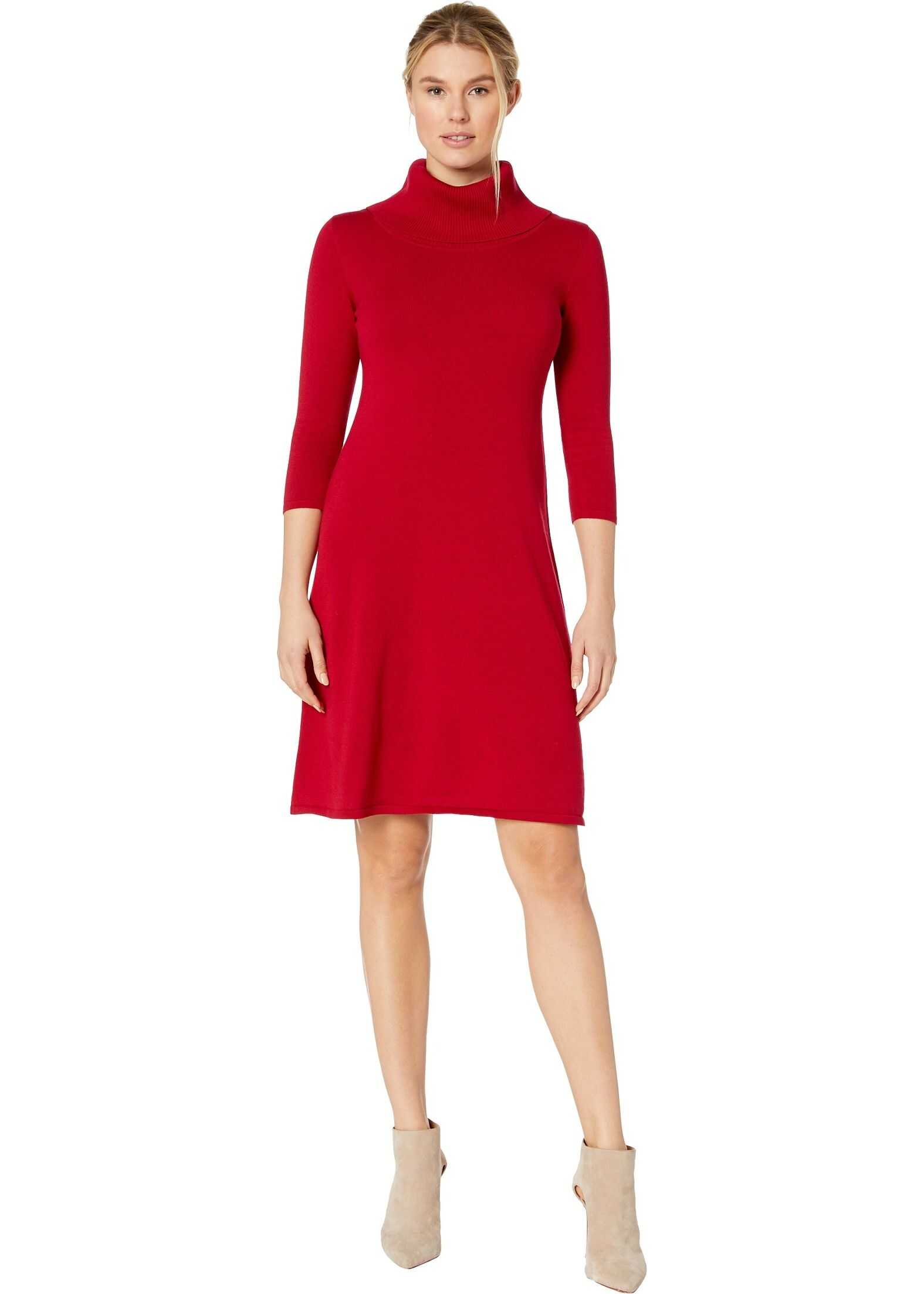 Nine West Cowl Neck Fit-and-Flare Knit Dress Rogue
