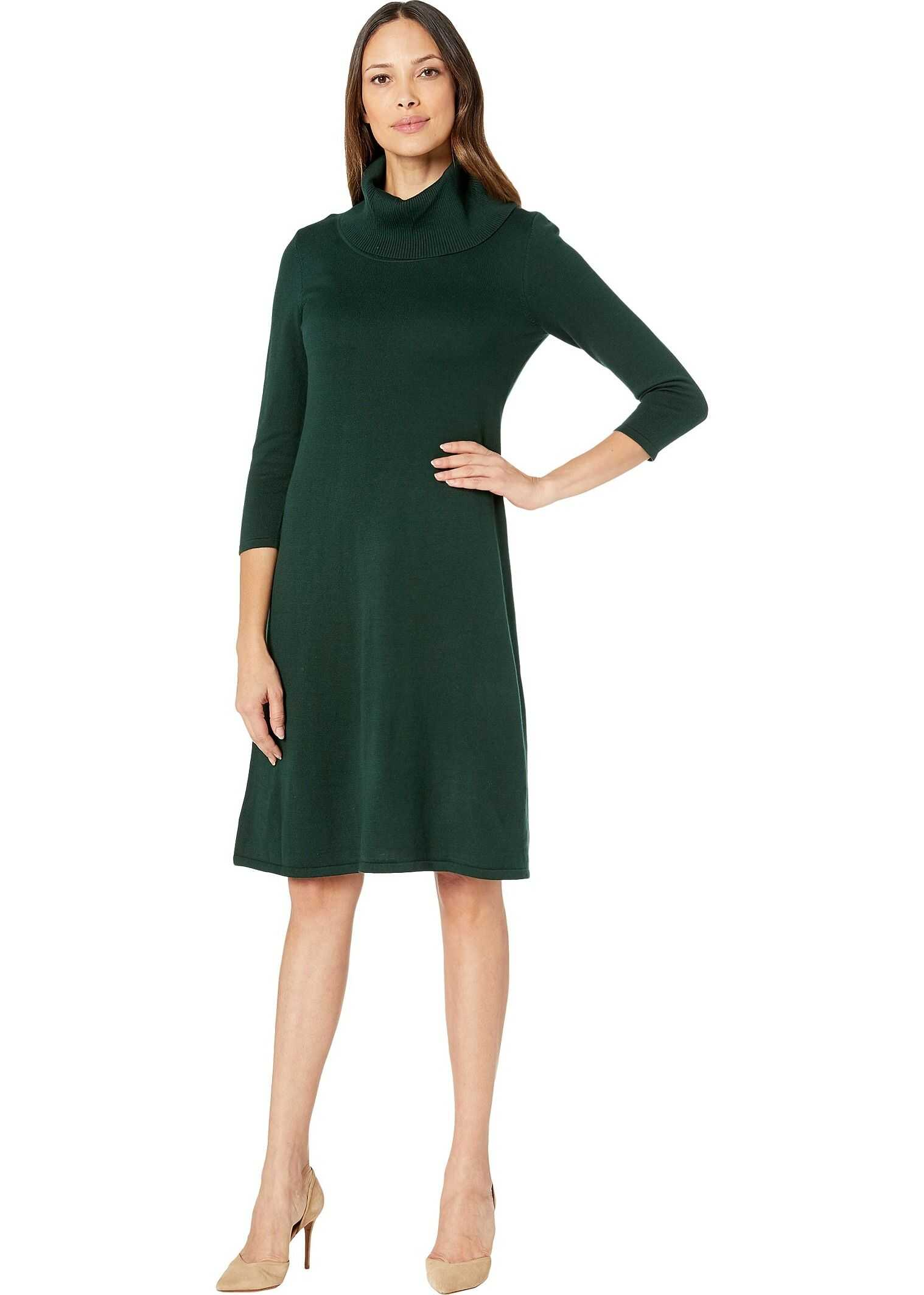 Nine West Cowl Neck Fit-and-Flare Knit Dress Hunter
