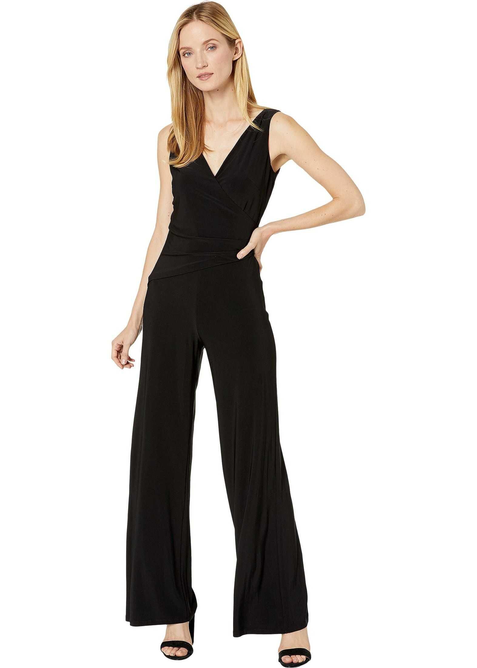 Nine West Ity Sleeveless Jumpsuit w/ Surplus Detail & Asymmetrical Bodice Black