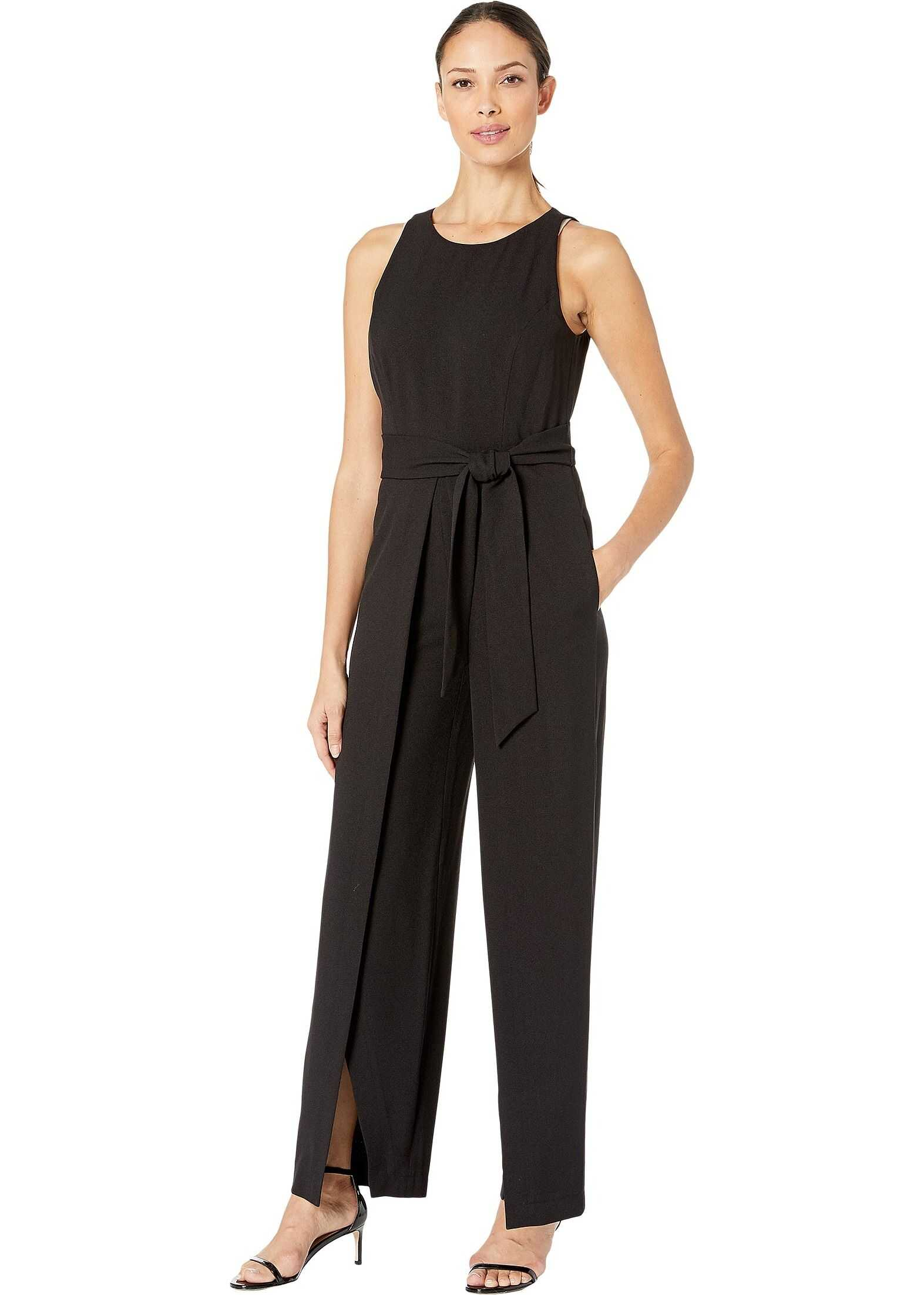 Nine West Textured Crepe Sleeveless Jumpsuit Belted with a Flyaway Pants Black
