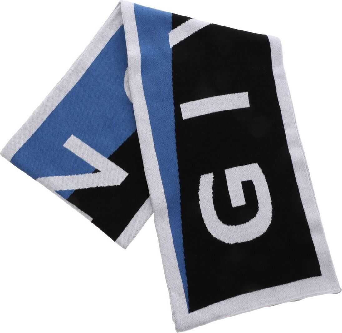 Givenchy Logo Team Scarf In Blue Light Blue