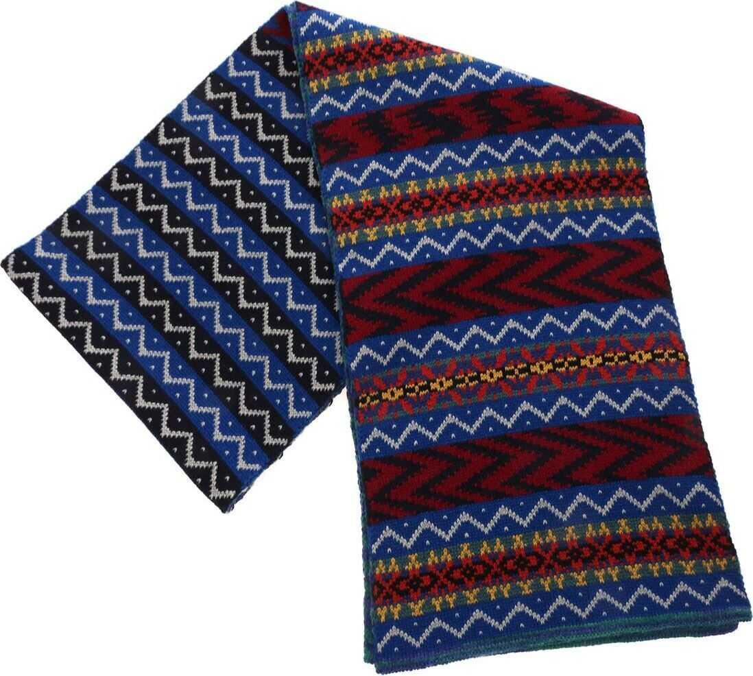 Missoni Multicolor Fairsle Knit Scarf Blue