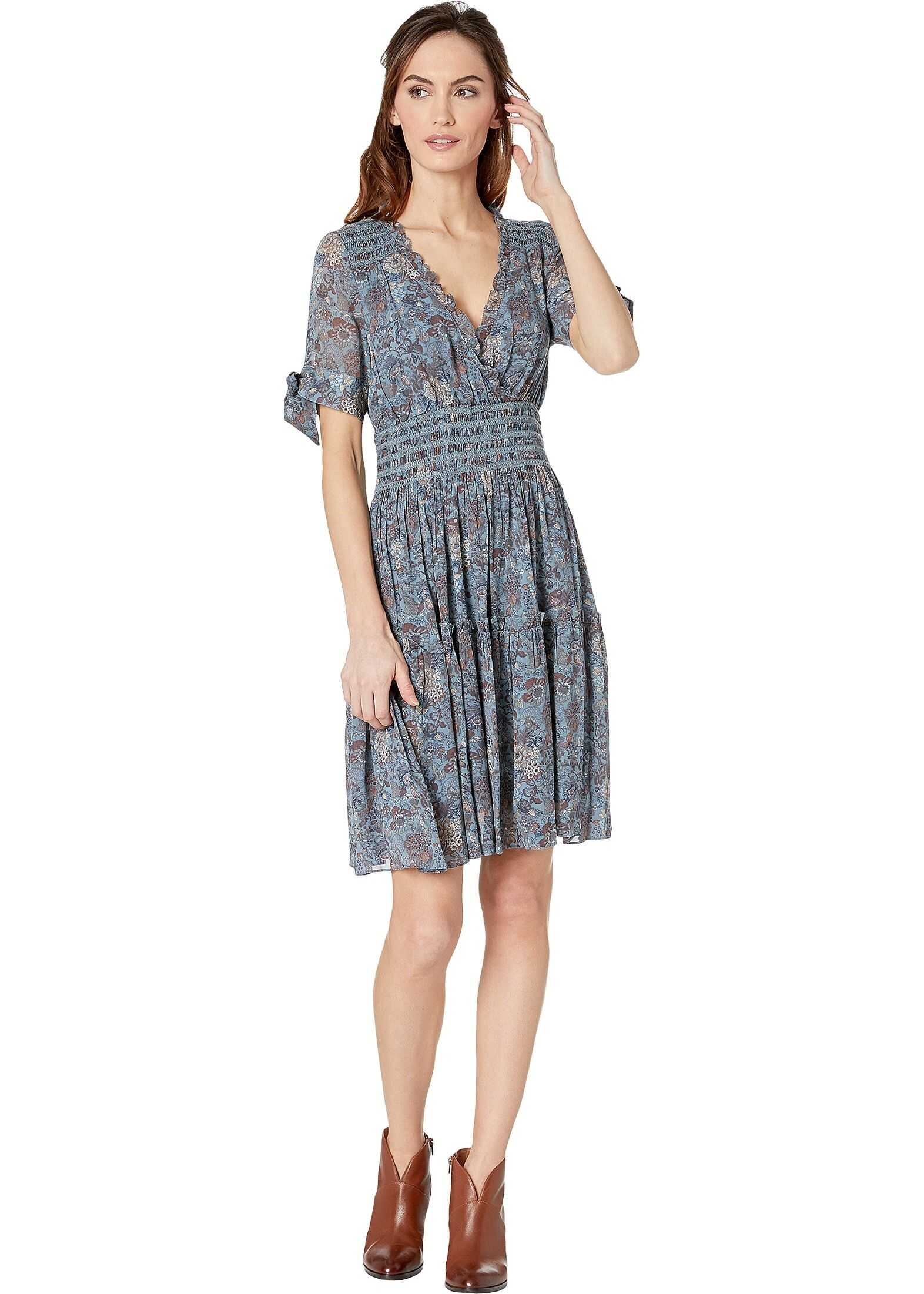 Frye V-Neck Smocked Waist Dress Blue Magdalena