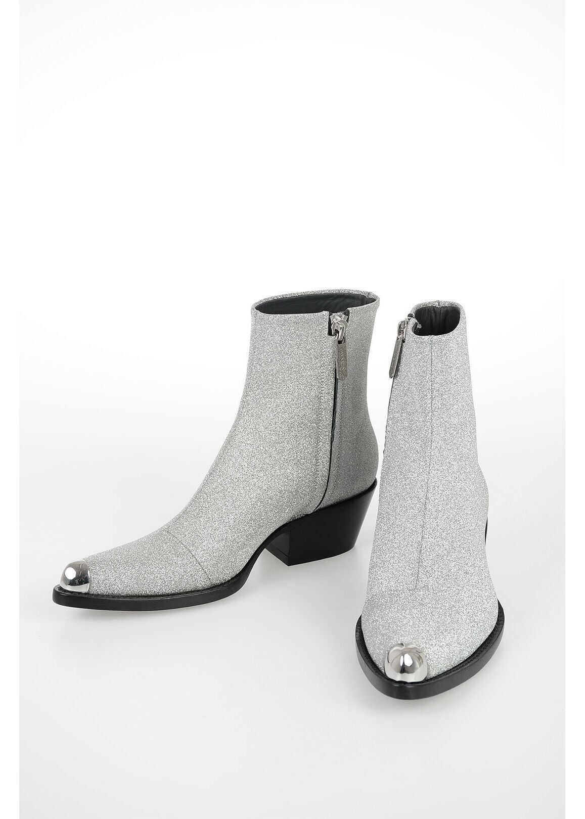 Calvin Klein 6cm Glittered Ankle Boots SILVER