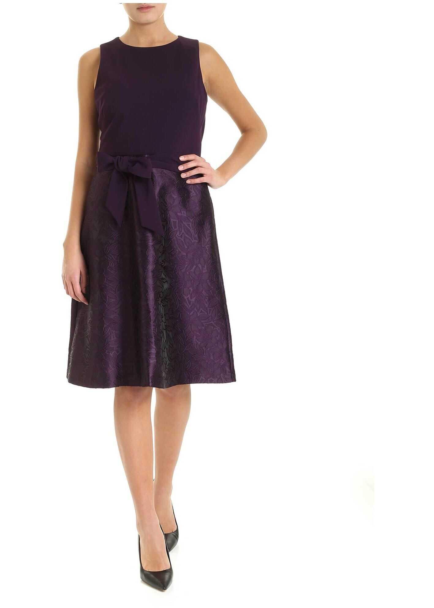 Jacquard Bottom Dress In Purple thumbnail