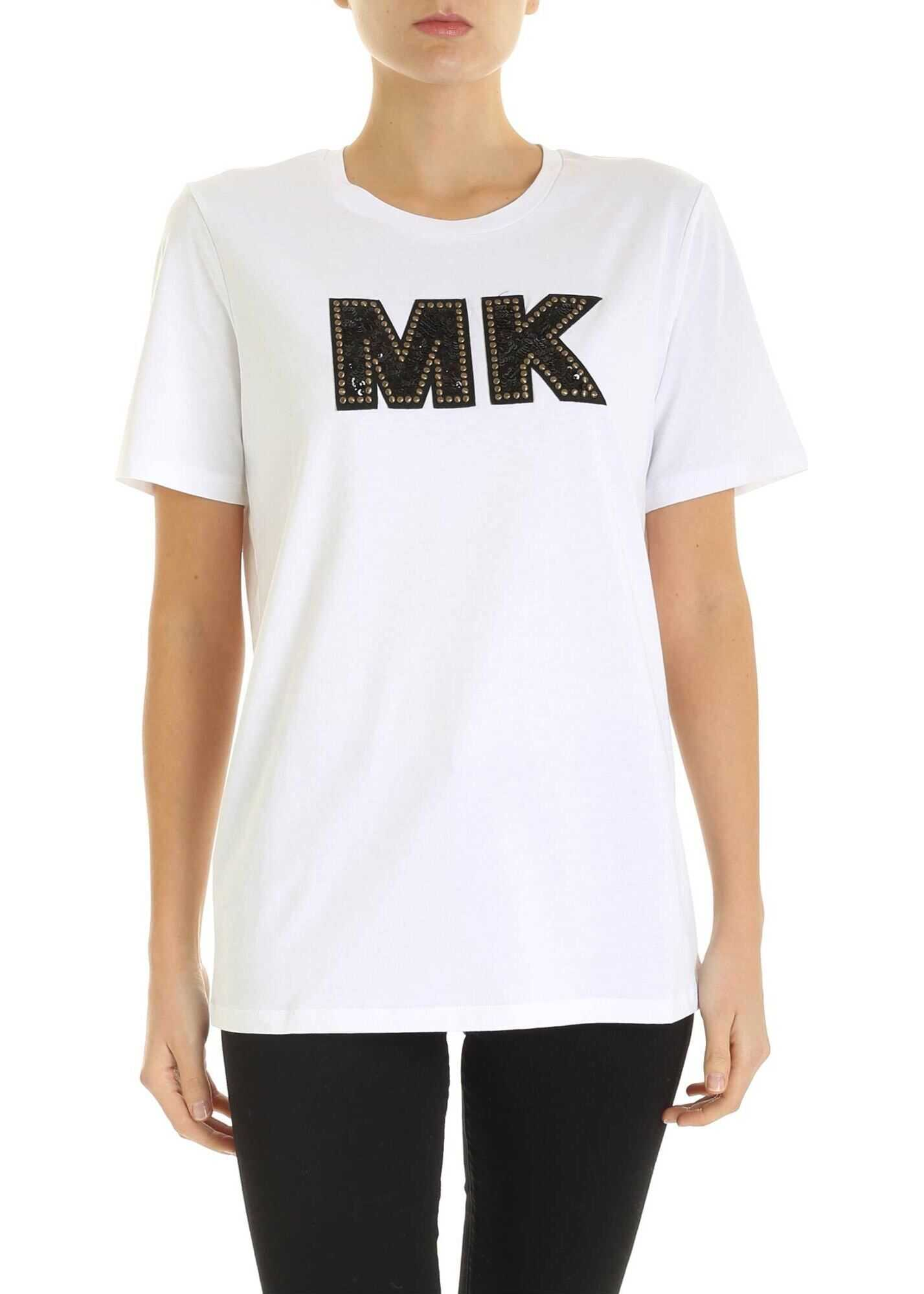 Michael Kors Jewel Logo Patch T-Shirt In White White