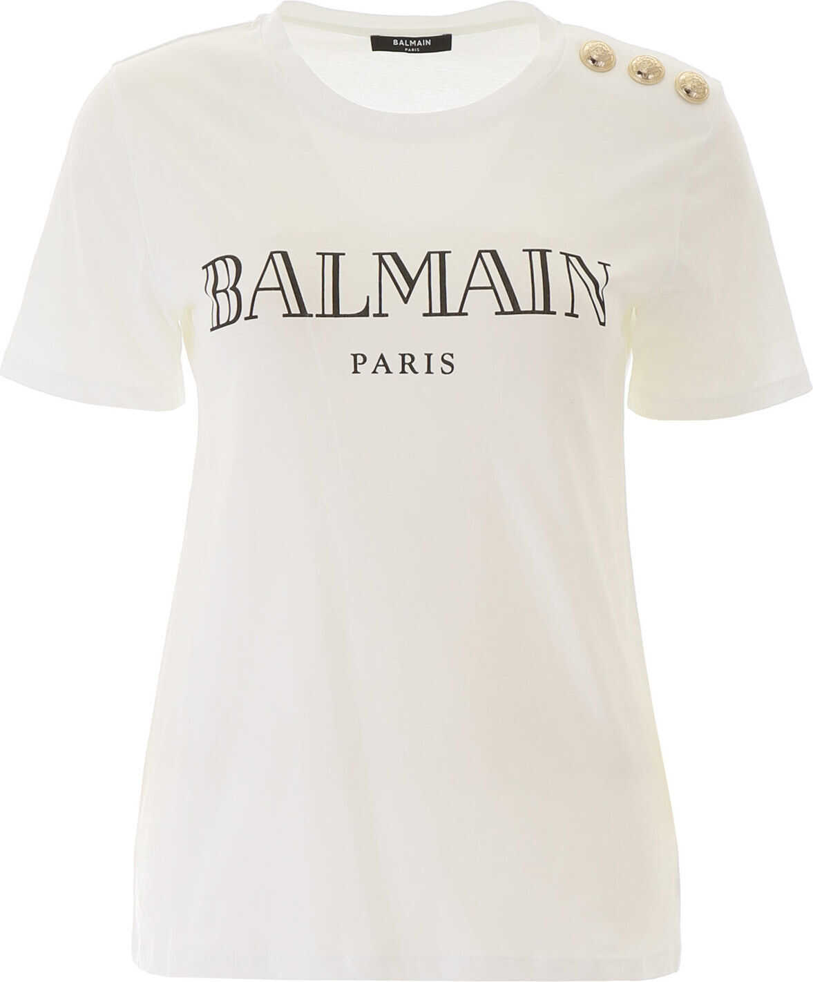 Balmain T-Shirt With Logo Buttons BLANC NOIR