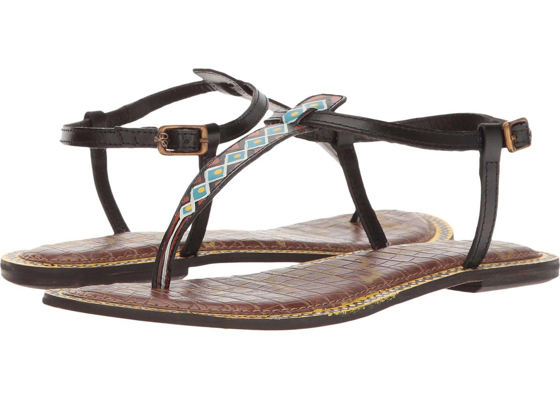 Sam Edelman Gigi 6 Black Painted Tribal Diamond Leather
