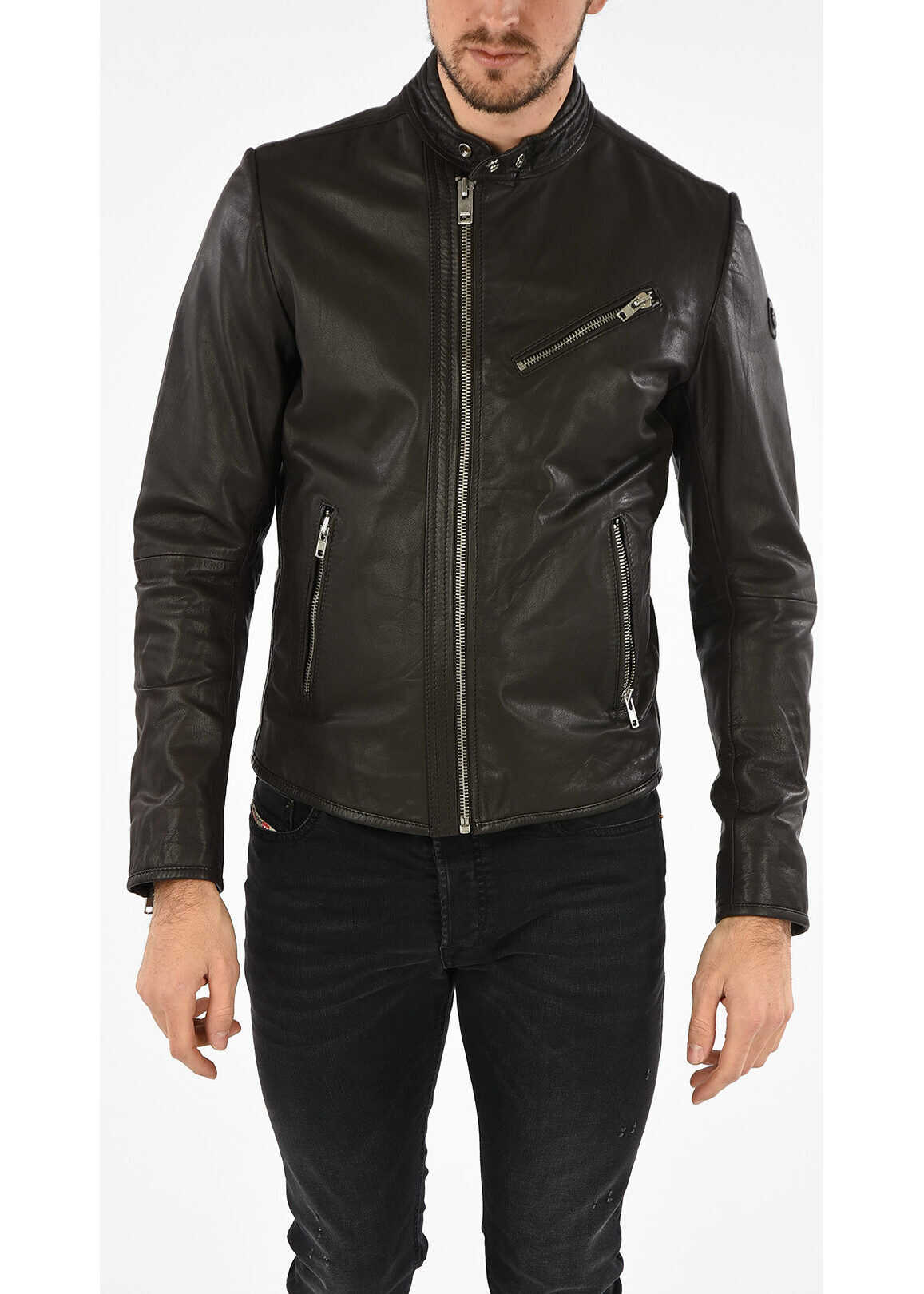 Diesel Leather R-OYTON Jacket BLACK