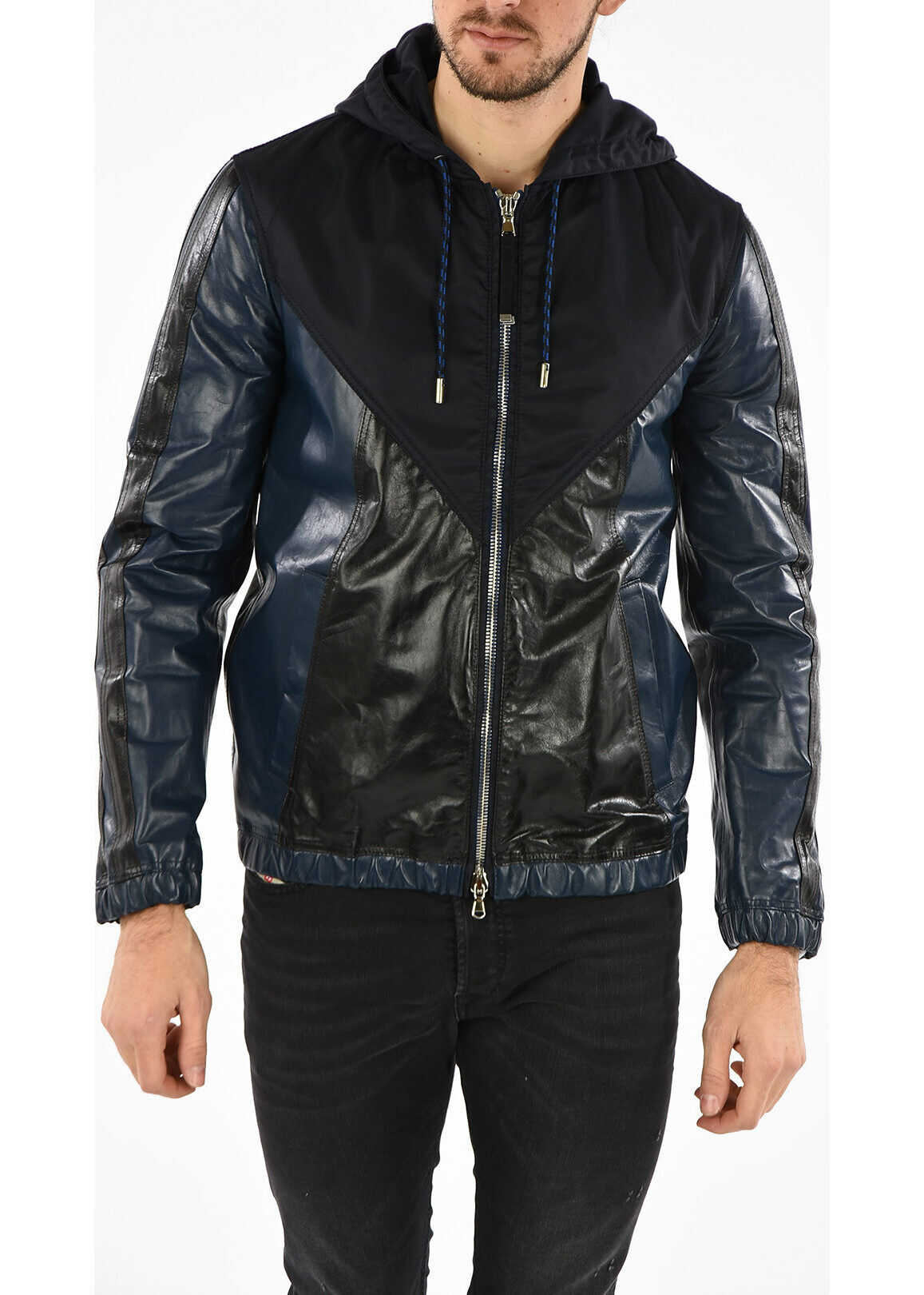 BLACK GOLD Leather Hooded LINTARSIA Jacket thumbnail