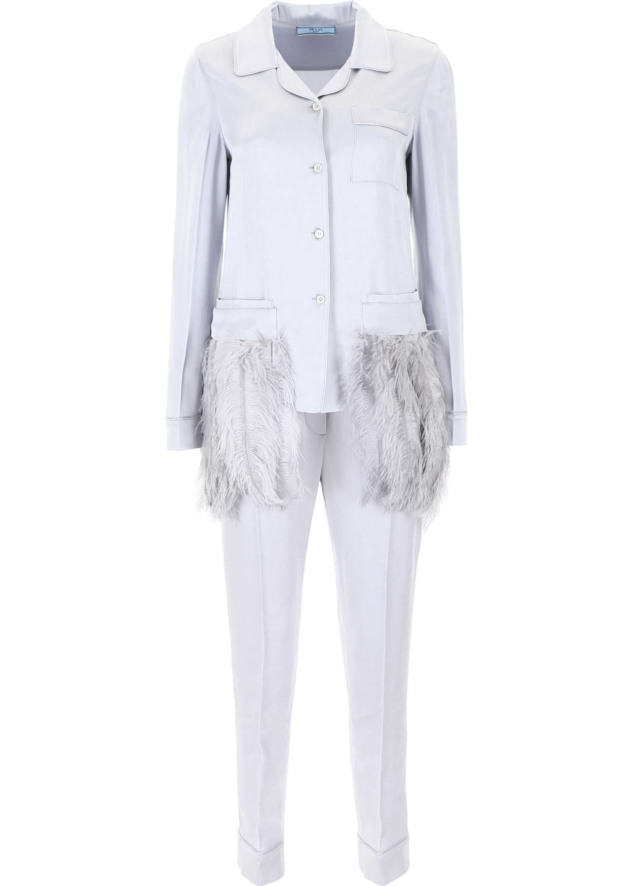 Prada Satin Pyjama Set With Feathers OPALINE