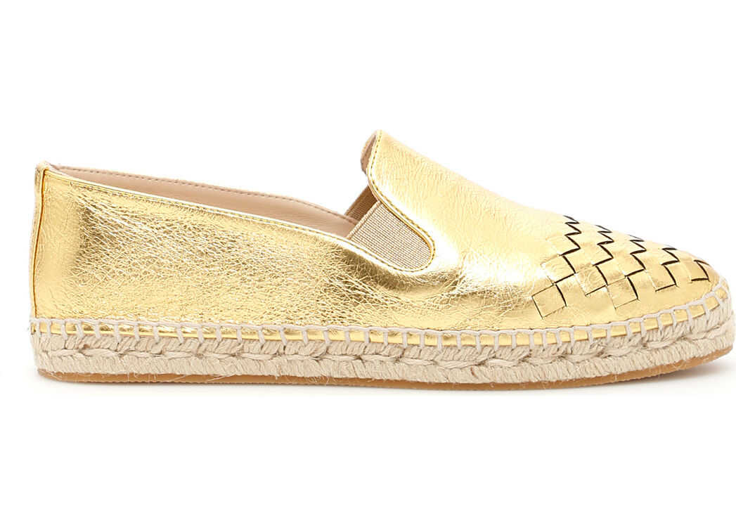 Bottega Veneta Woven Leather Espadrilles LIGHT GOLD