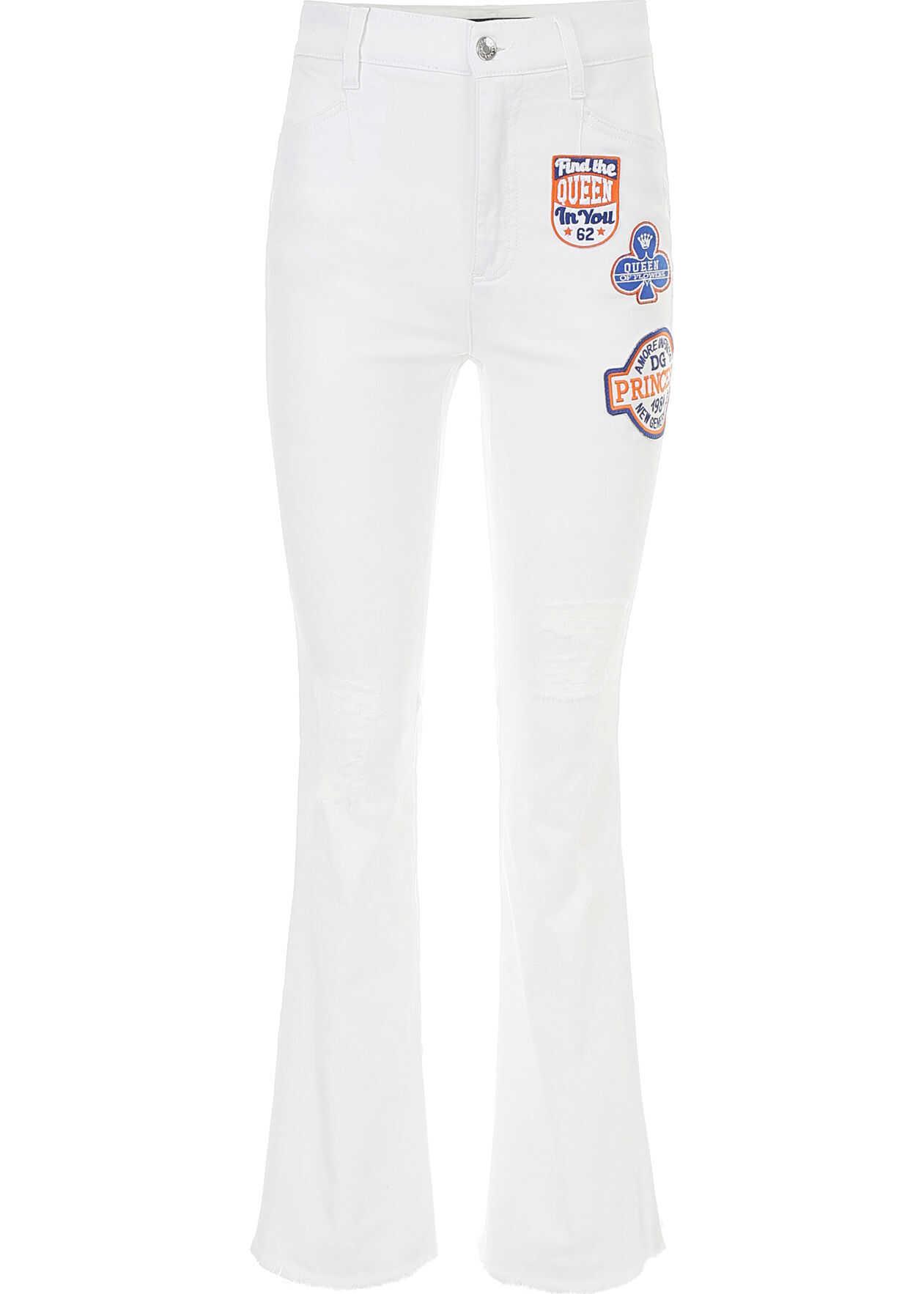 Dolce & Gabbana Flare Jeans With Princess Patch BIANCO OTTICO