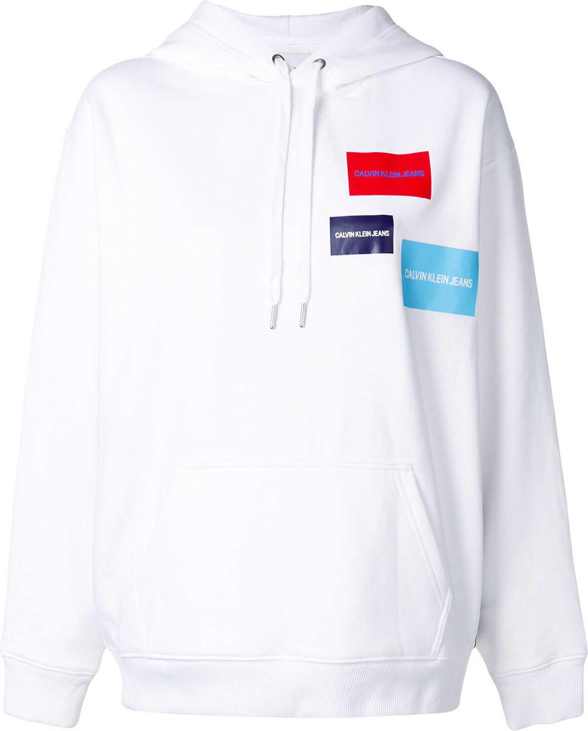 Calvin Klein Jeans Multi Logo Hoodie BRIGHT WHITE