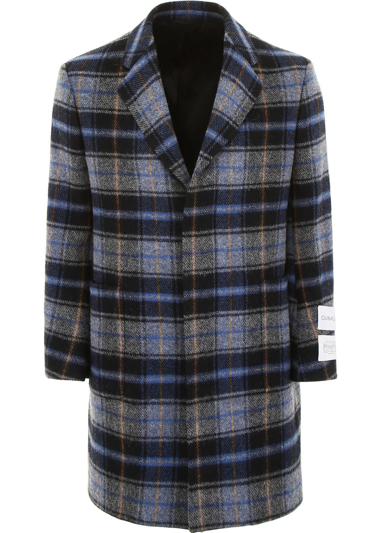 Calvin Klein 205W39NYC Classic Check Coat GRIGIO BLU