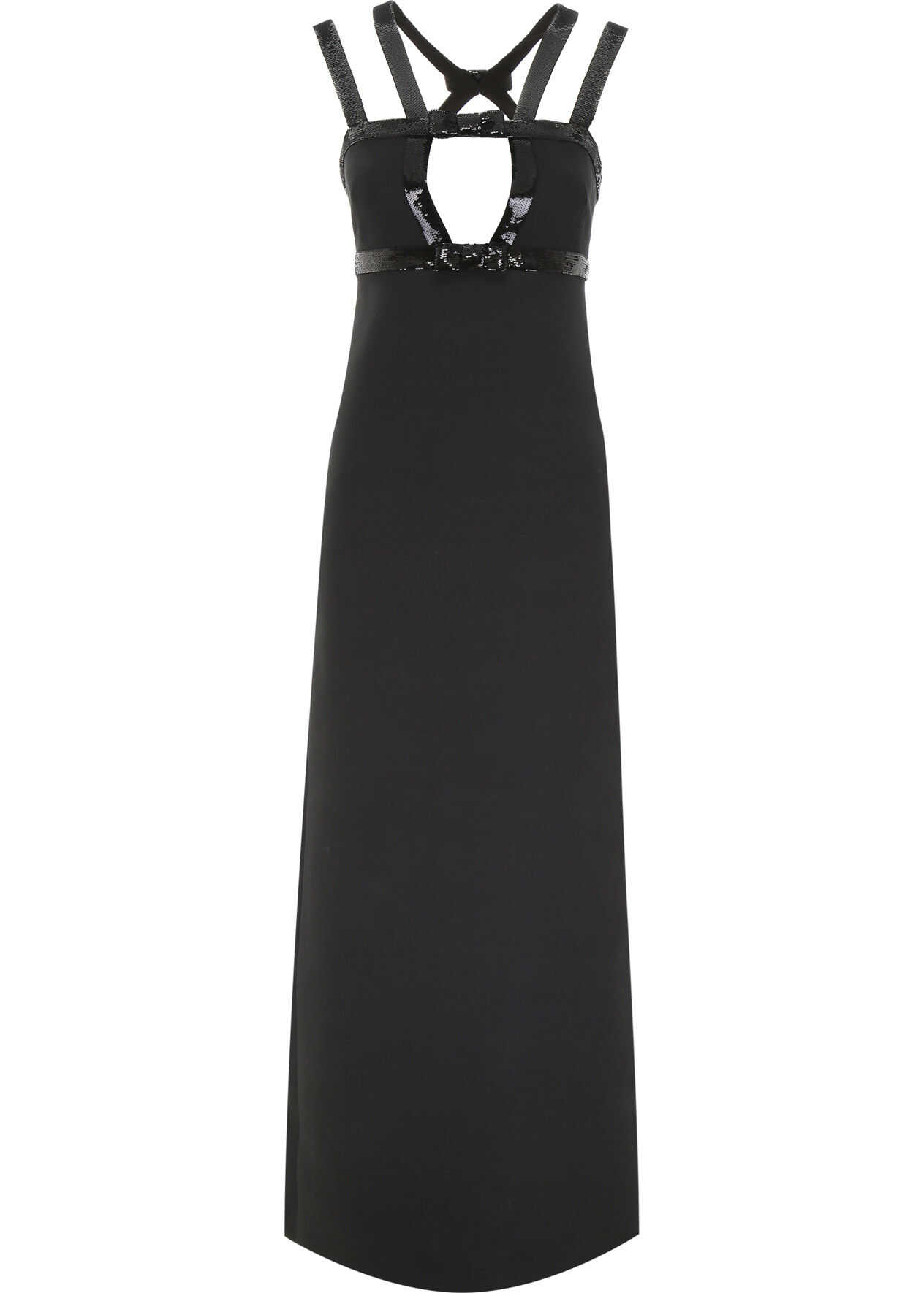 Miu Miu Long Dress With Sequins NERO