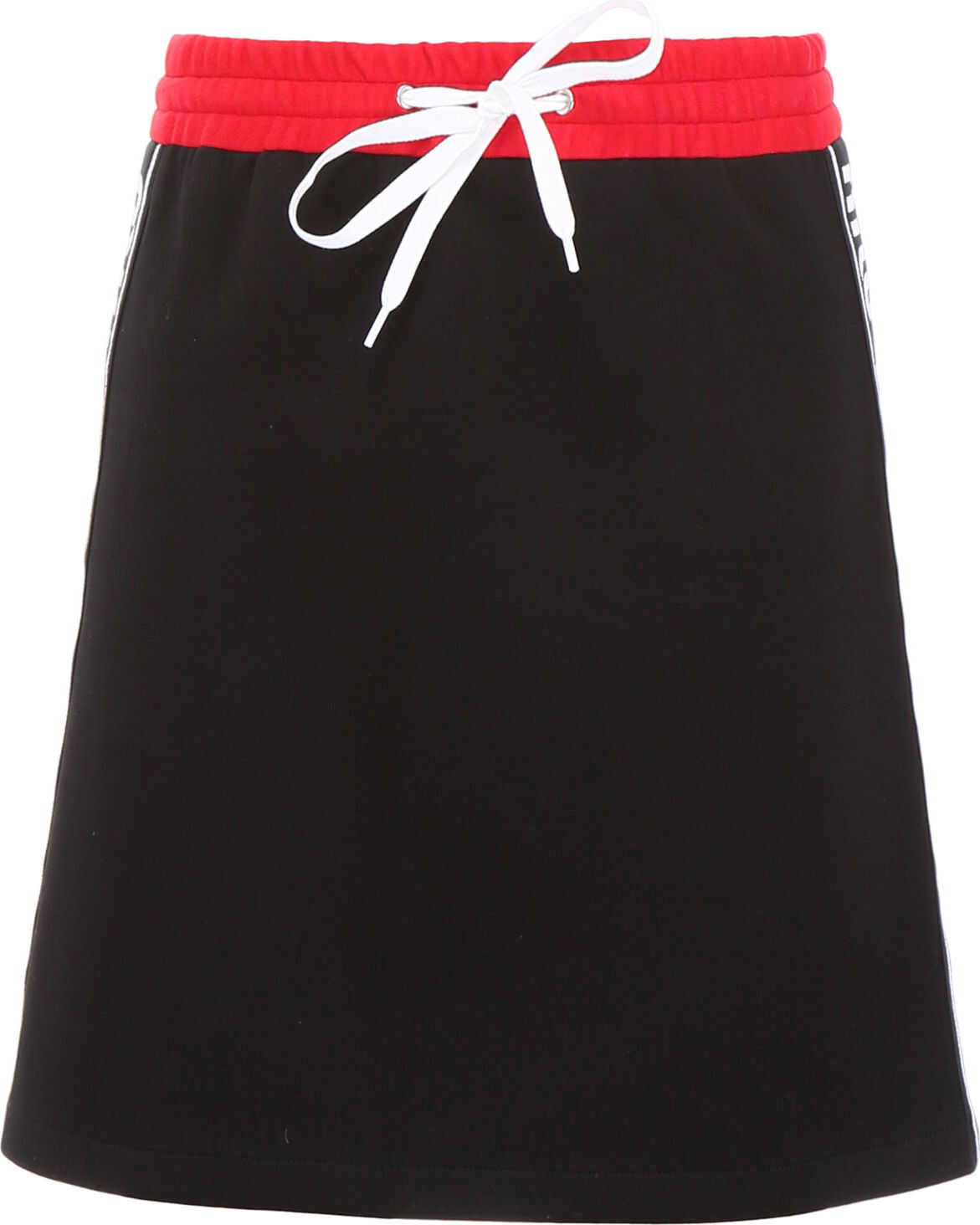 Miu Miu Mini Skirt With Logo Piping NERO