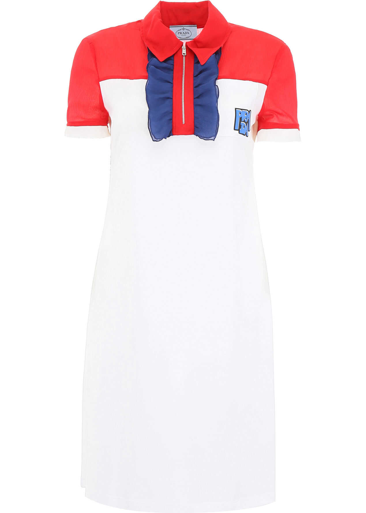 Prada Dress With Ruffles And Logo Patch ROSSO BIANCO INCHIOS