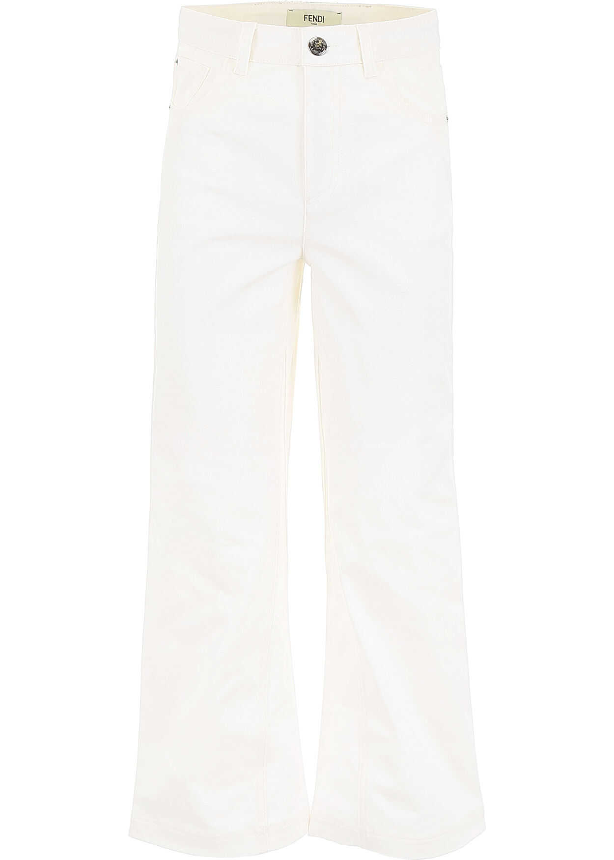 Fendi Cropped Jeans WHITE