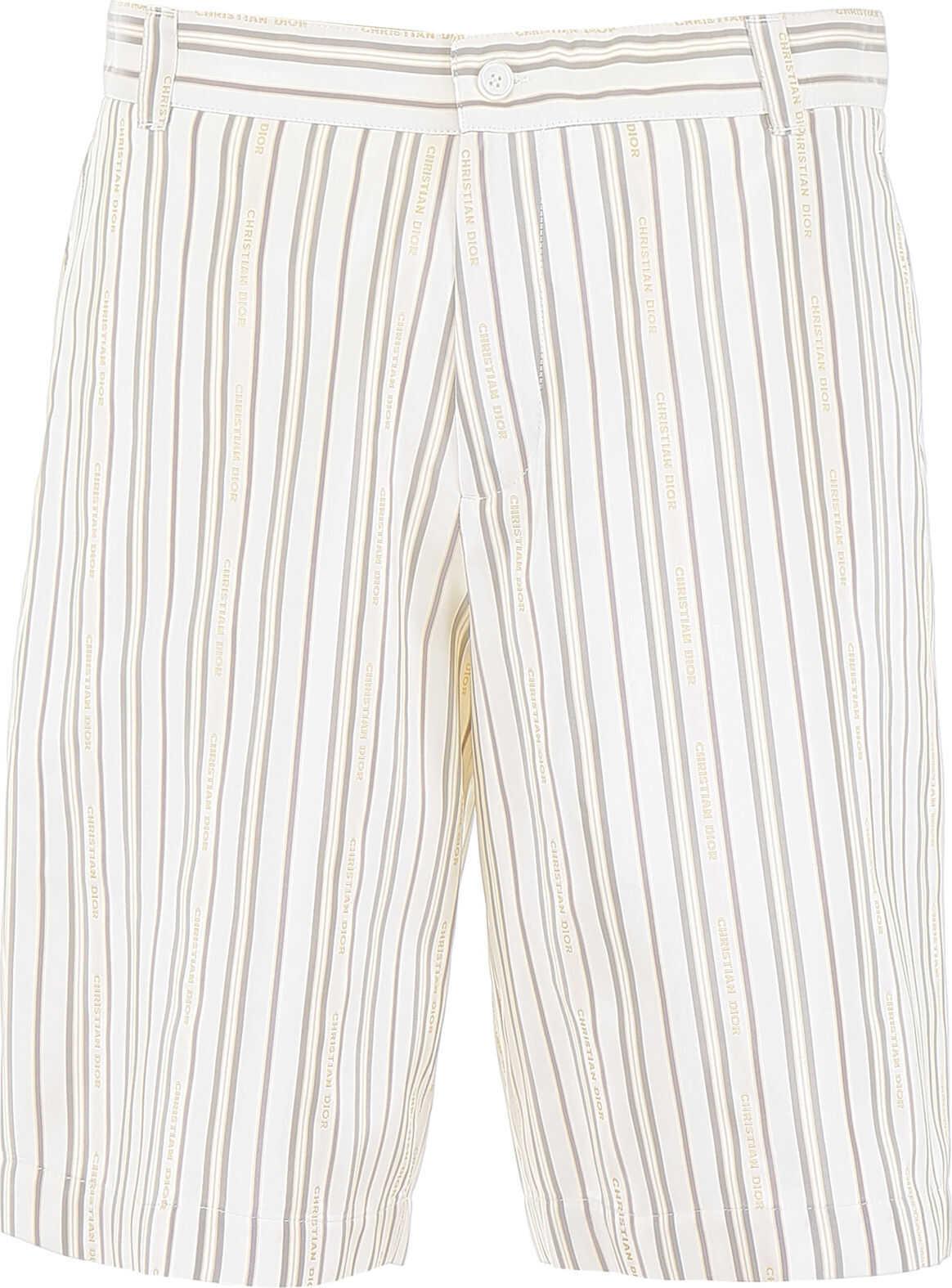 Striped Bermuda Shorts With Logo