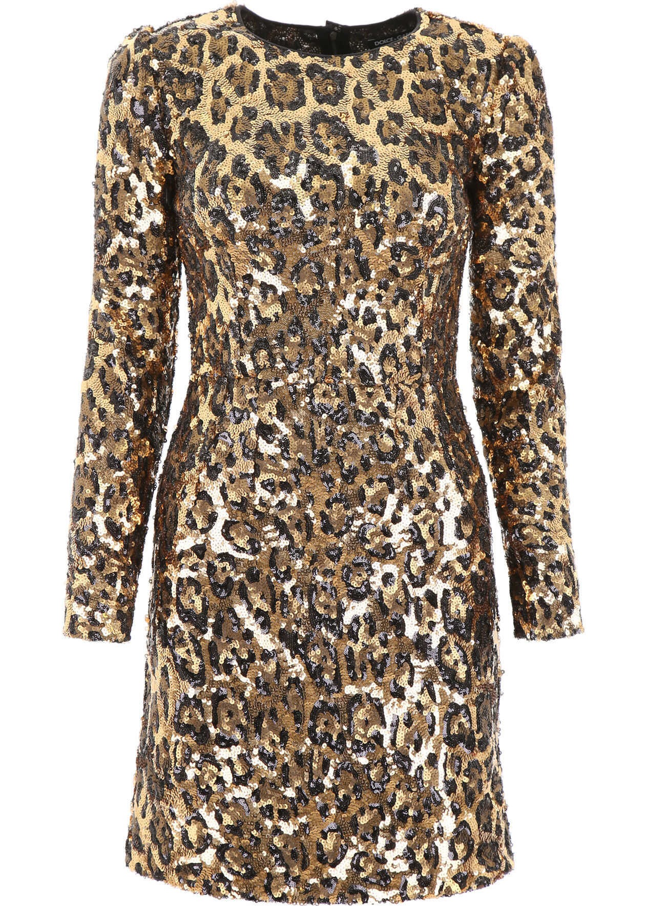 Dolce & Gabbana Leopard Print Sequins Dress MACULATO
