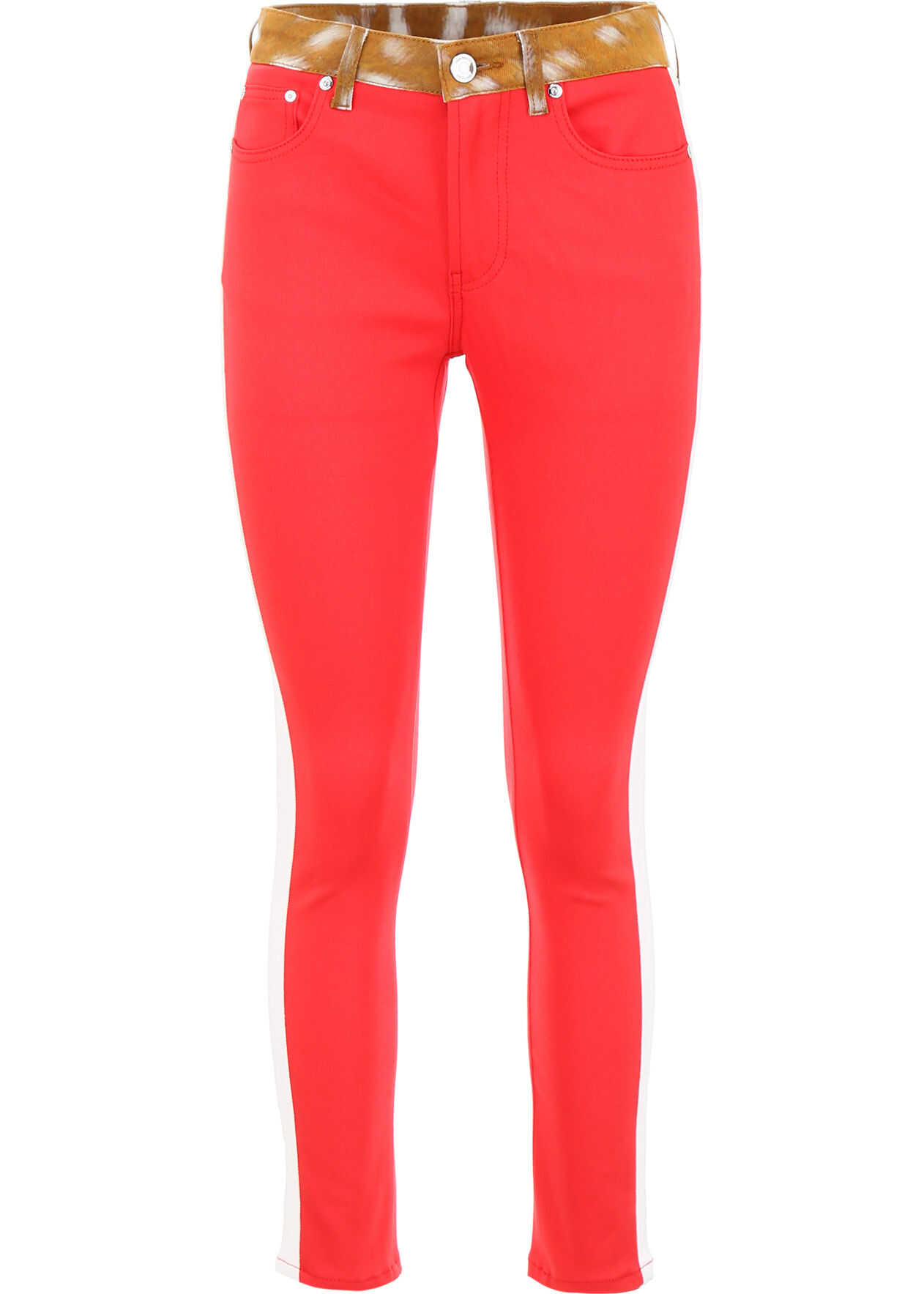 Burberry Bicolor Jeans With Fawn Print BRIGHT RED