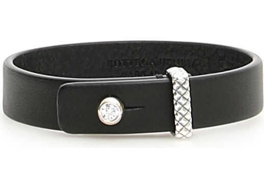 Bottega Veneta Leather Bracelet NATURAL ARG NERO