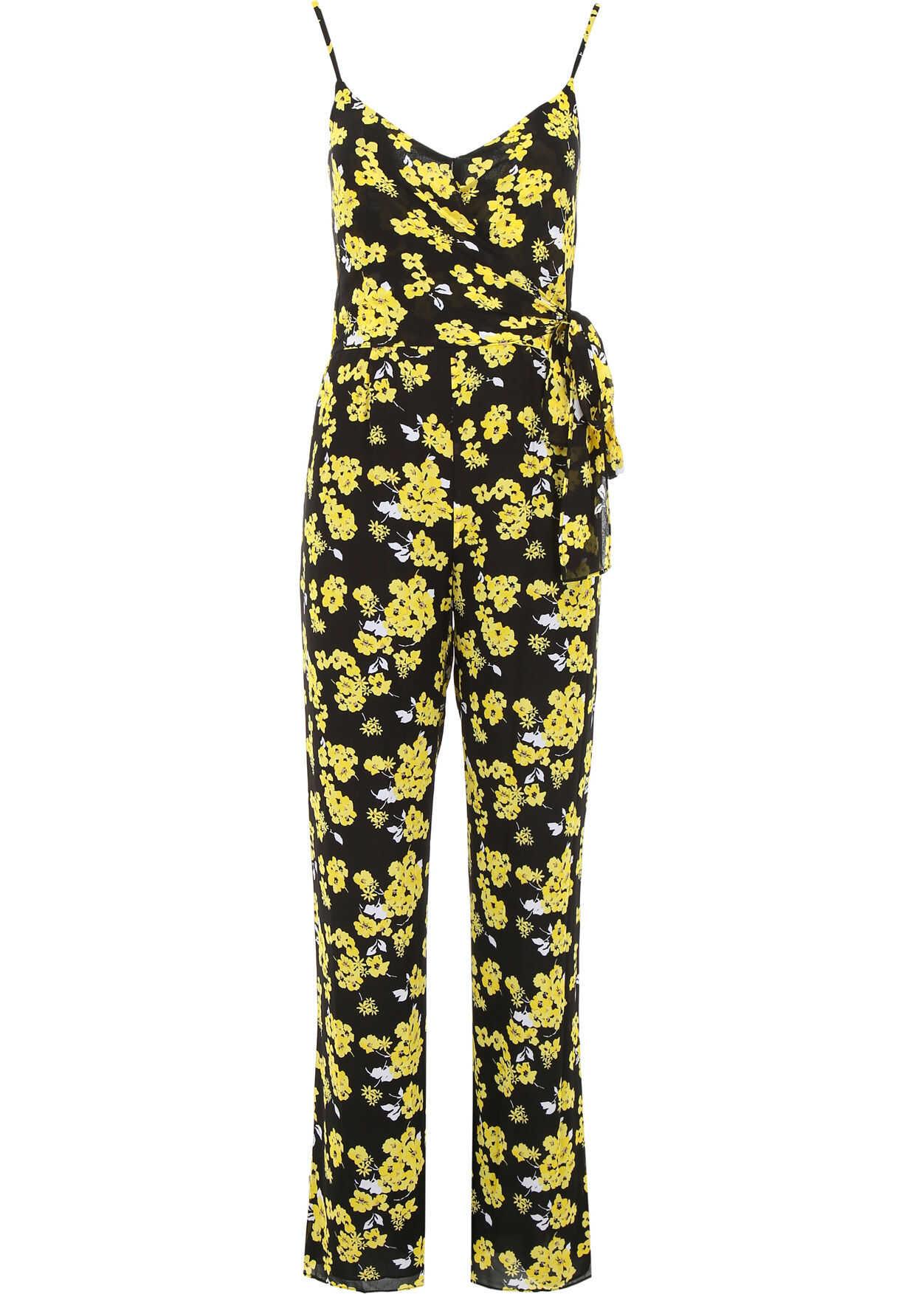 Michael Kors Floral-Printed Jumpsuit BLK GLDN YLLW