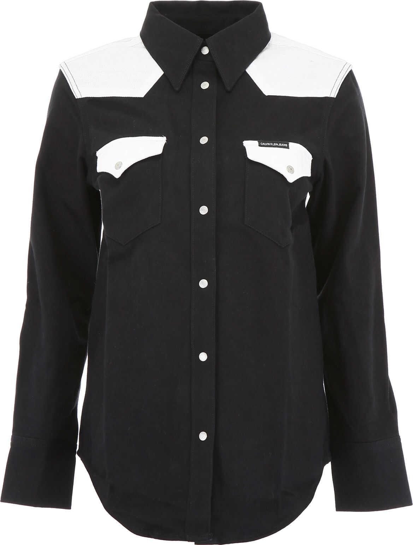 Calvin Klein Jeans Bicolor Denim Shirt BLACK WHITE