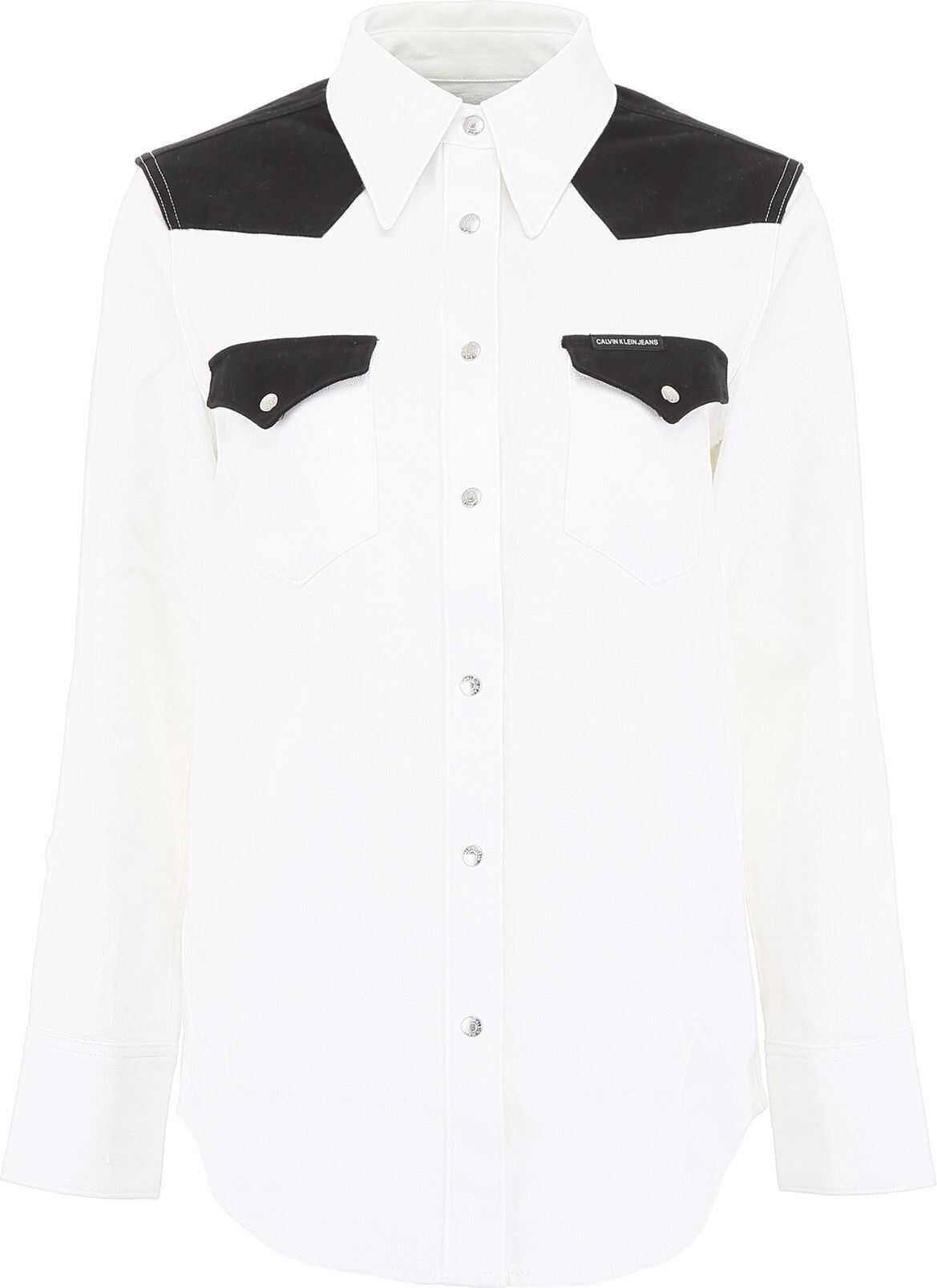 Calvin Klein Jeans Bicolor Cotton Shirt WHITE BLACK