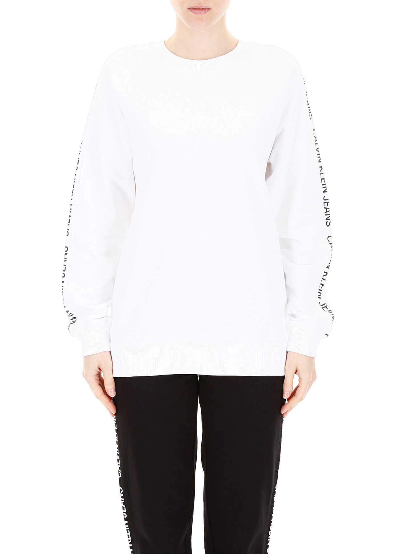 Calvin Klein Jeans Sweatshirt With Logo Bands WHITE