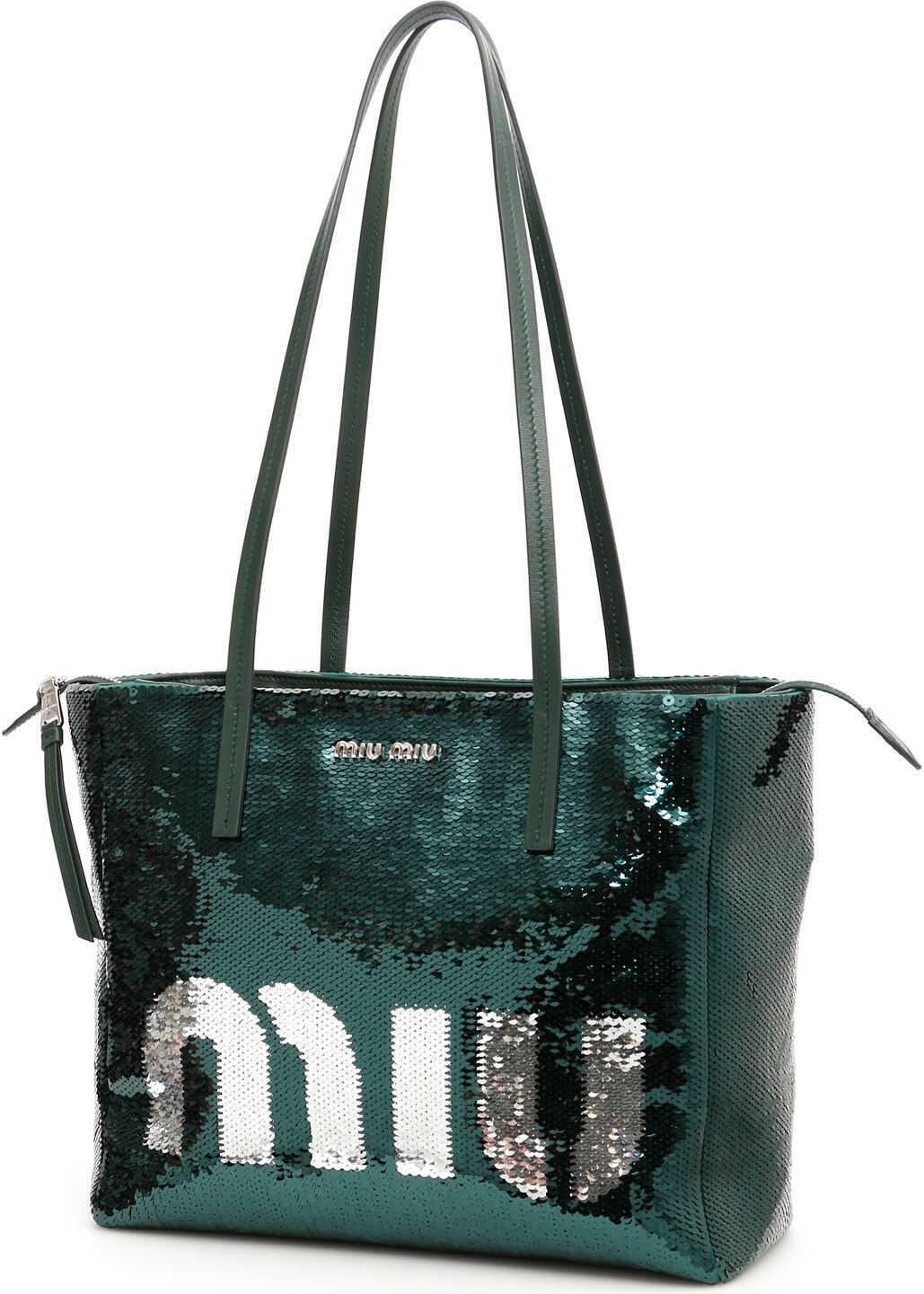 Miu Miu Sequins Logo Shopping Bag SMERALDO ARGENTO