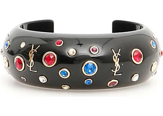 Saint Laurent Eighties Cuff Bracelet DORE NOIR BL RG CRY