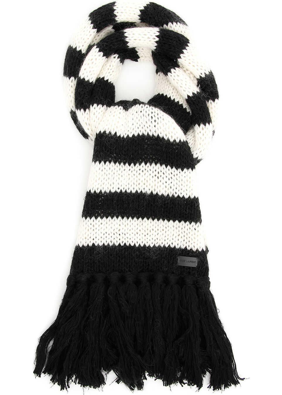 Saint Laurent Striped Knit Scarf BLACK RINSE