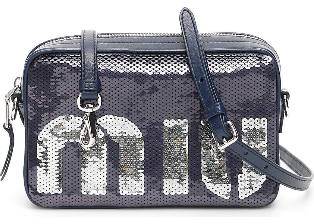 Miu Miu Miu Sequins Bag BLU ARGENTO